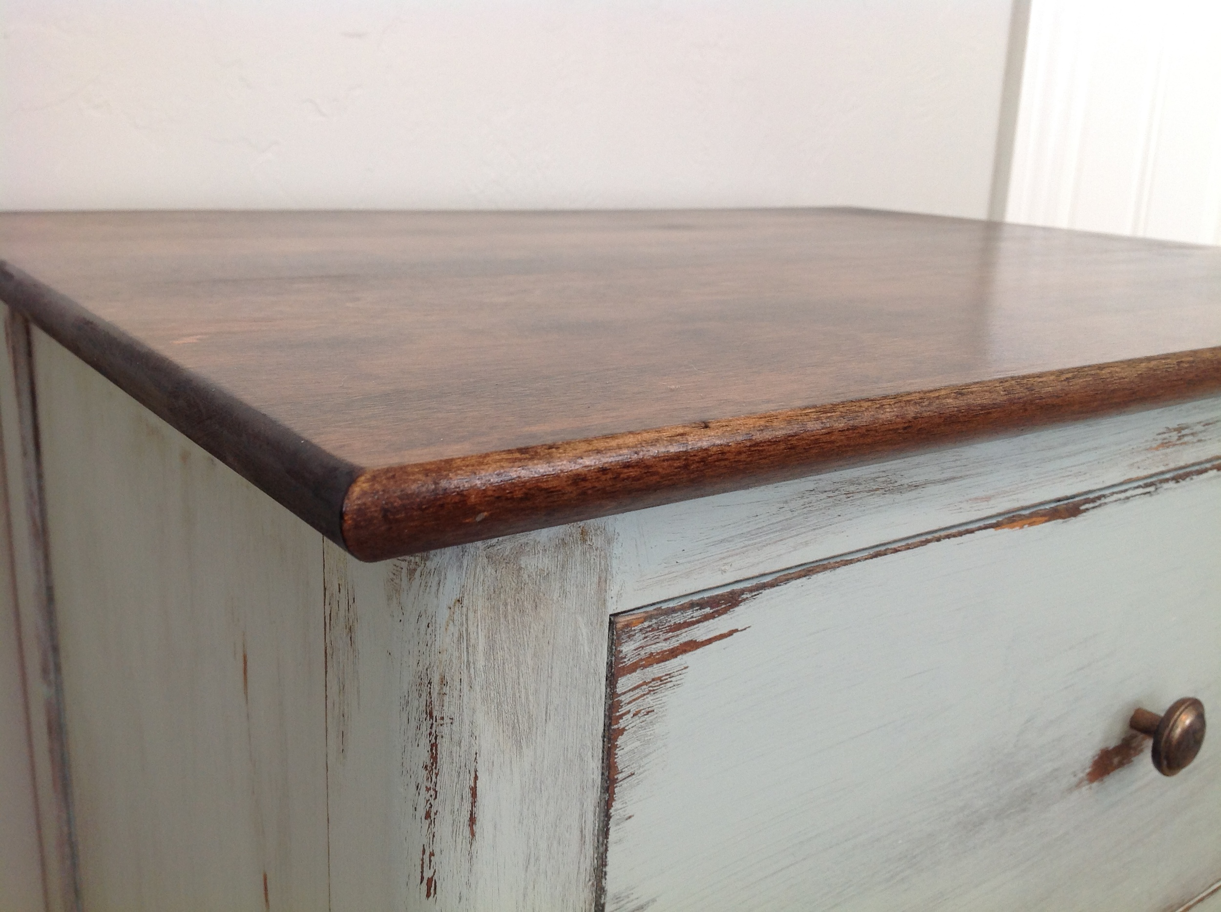 I used chalk paint on the base and drawer of this table. Other techniques were also used to achieve this look. More tutorials to come....