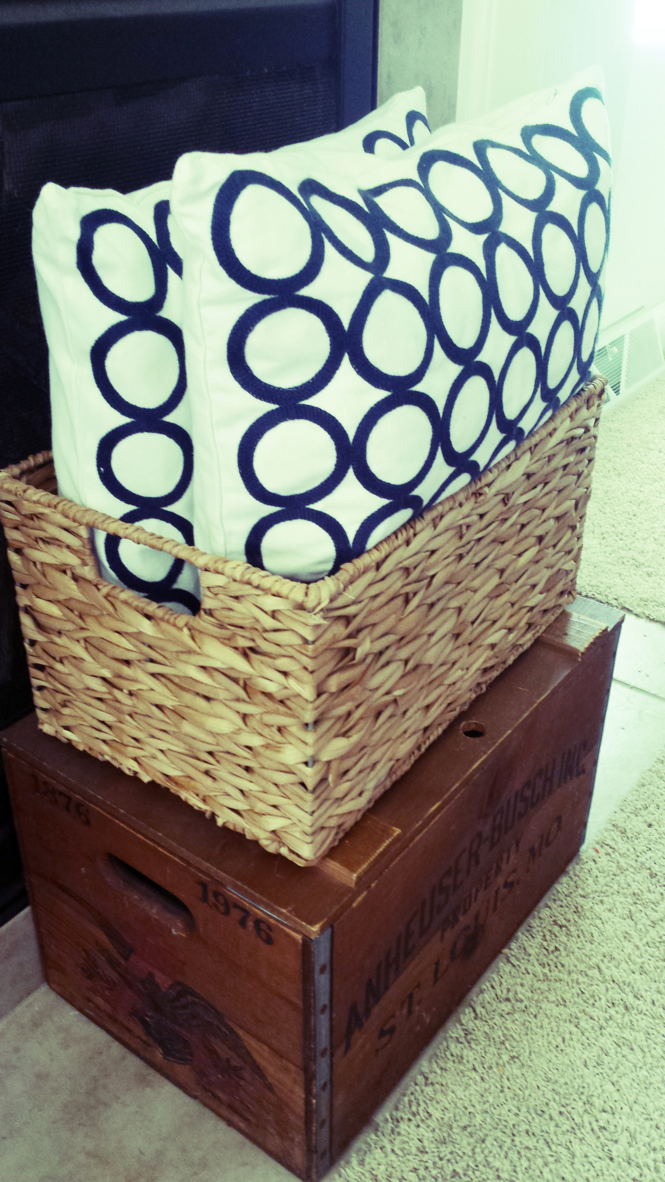 The crate and basket/pillows look pretty right?  What's inside them is not.  Who knew?