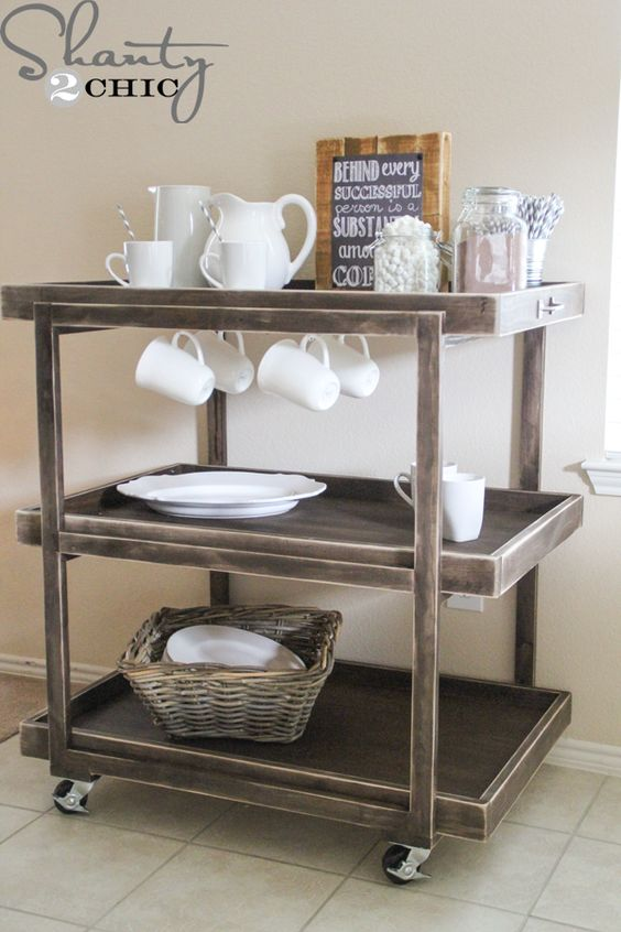 Use a cart for a fun (and mobile!)coffee bar