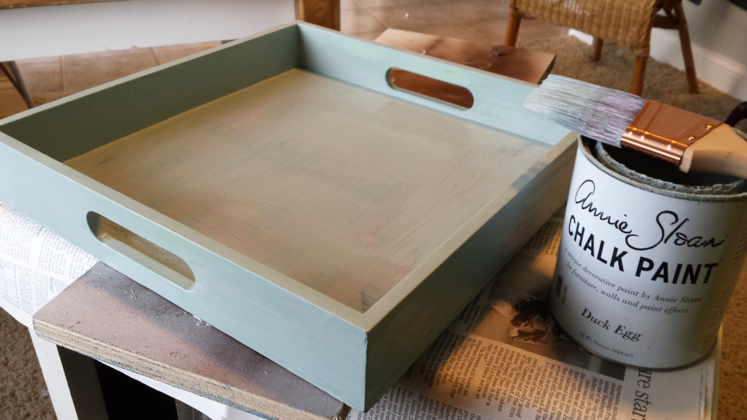 "I used a subtle blue/gray color called ""Duck egg blue"" by Annie Sloan Chalk paint"