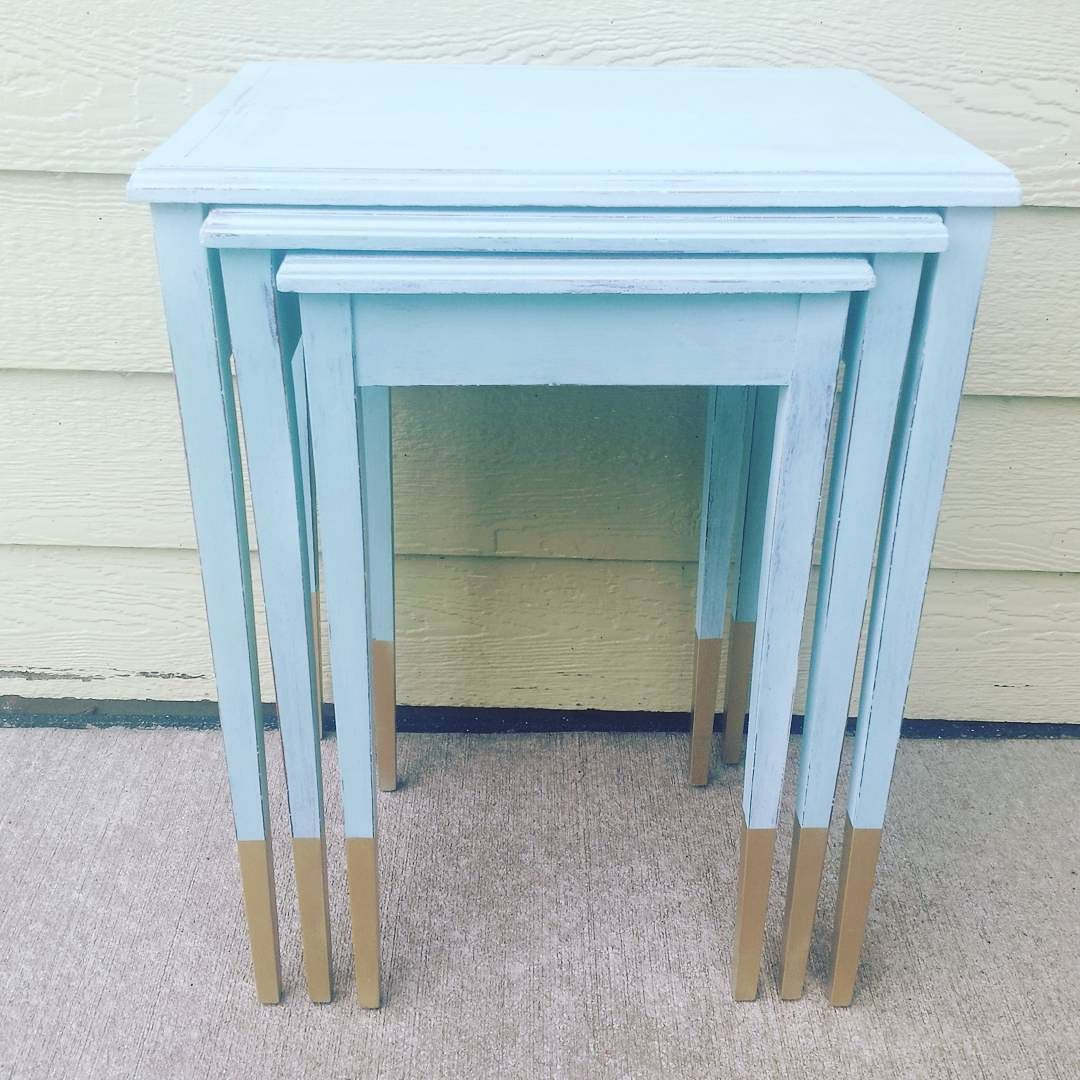gold dipped legs on nesting tables