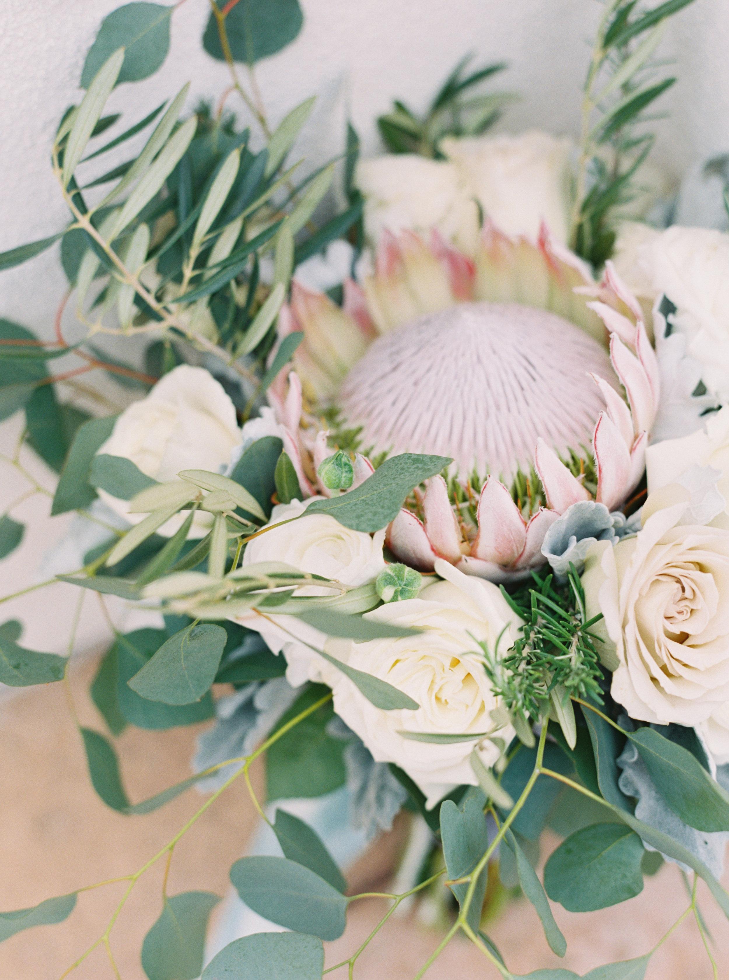 7 bride bouquet natural bouquet loose bouquet king protea bride bouquet flowers eucalyptus bouquet pastel soft bouquet Life Design Events photos by Melissa Jill Photography.jpg