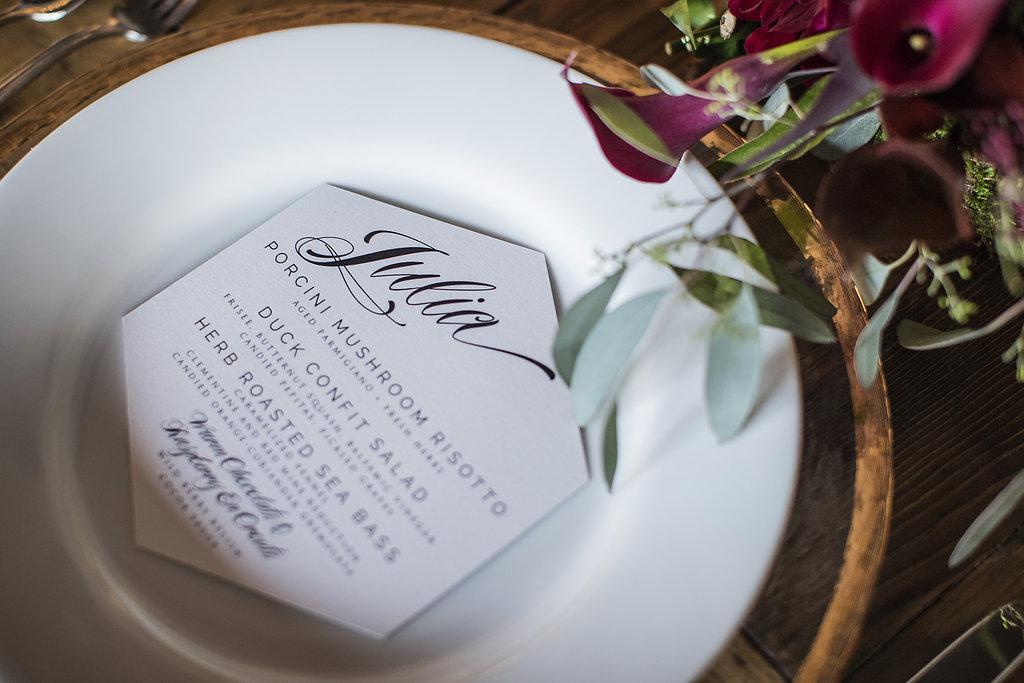 6 dinner menu placecard menu geometric menu dinner party menu Life Design Events photos by Largo Photography.jpg