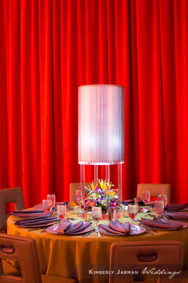 47 table decor large lamp as centerpiece purple and orange table decor unique reception decor Kimberly Jarman Photography Life Design Events .jpg