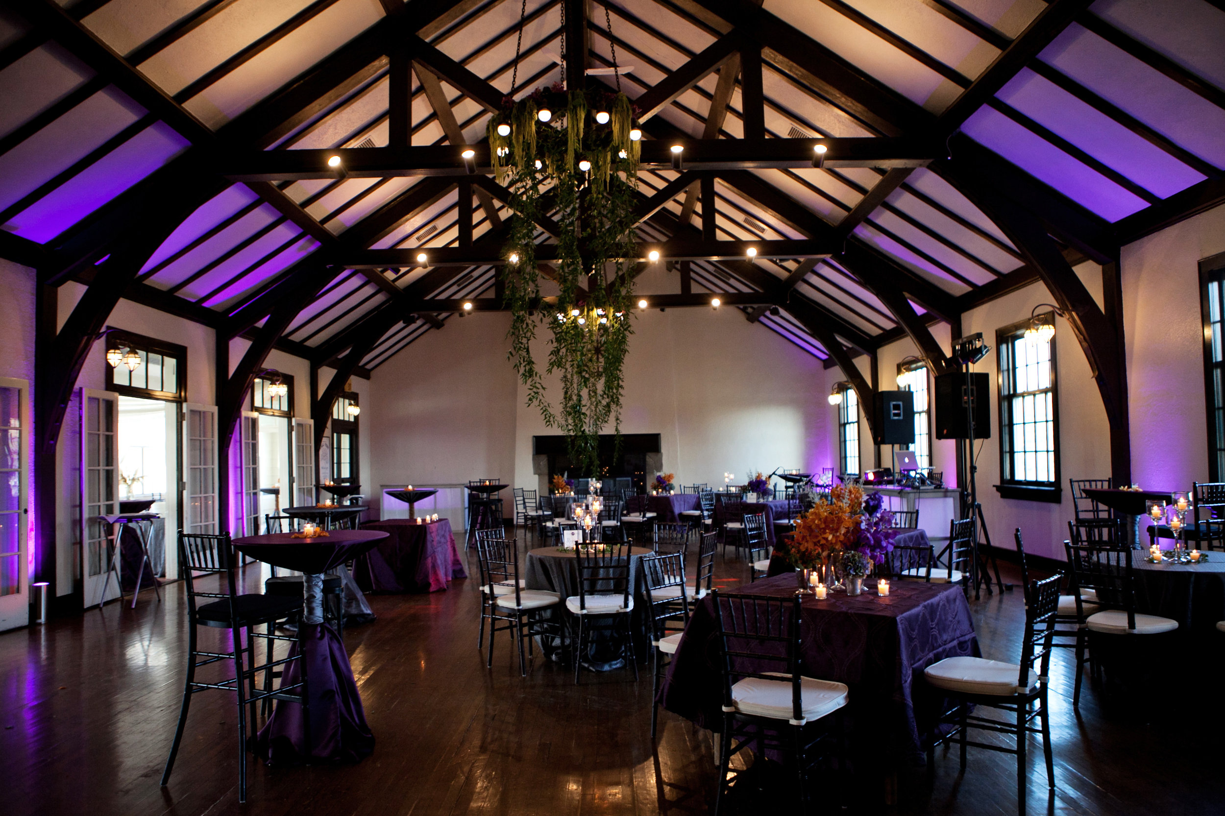46 reception hall purple wedding colors renaissance themed reception cocktail hour indoor reception indoors all purple wedding Life Design Events.jpg