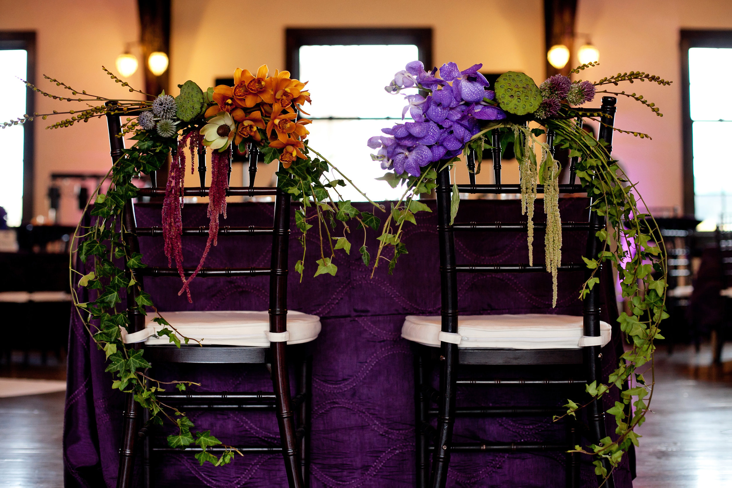 48 sweetheart table two brides sweetheart table sweetheart table decor purple and orange flowers at sweetheart table Life Design Events .jpg