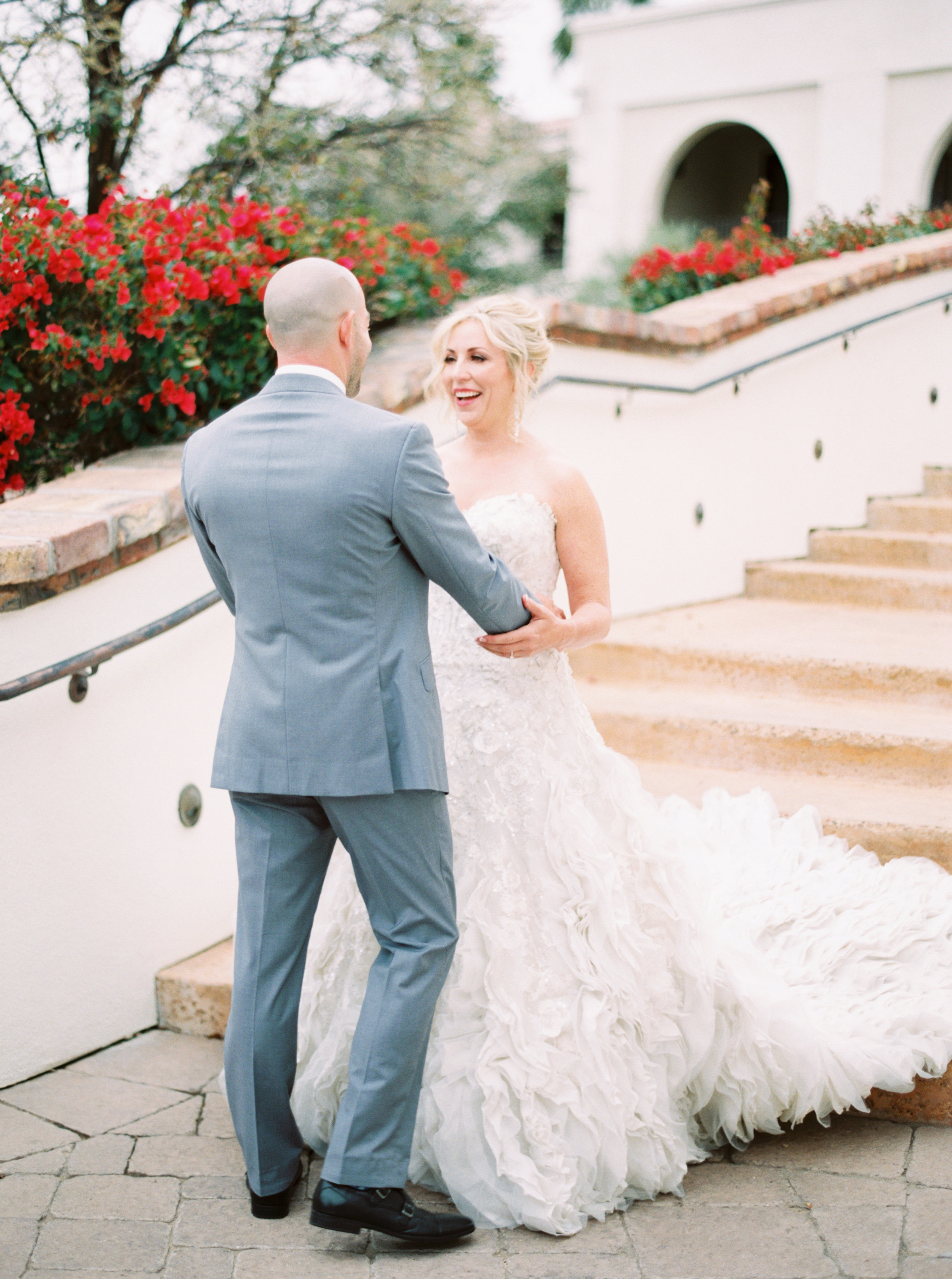 14 first look bride and groom first look happy bride photos before ceremony Life Design Events photos by Melissa Jill Photography.jpg