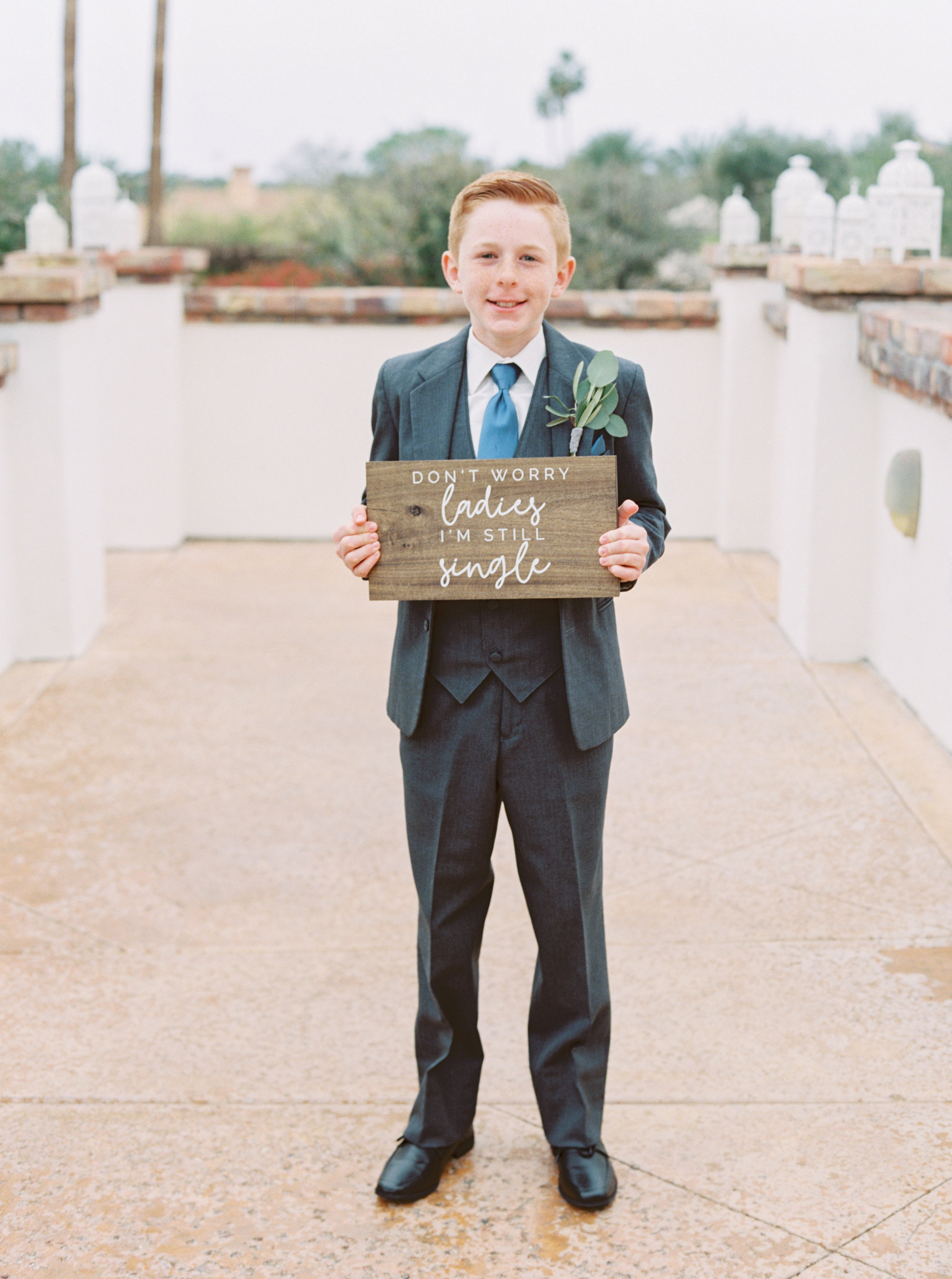 23 dont worry ladies im still single ring bearer sign ring bearer custom grey suit wedding party Life Design Events photos by Melissa Jill Photography.jpg
