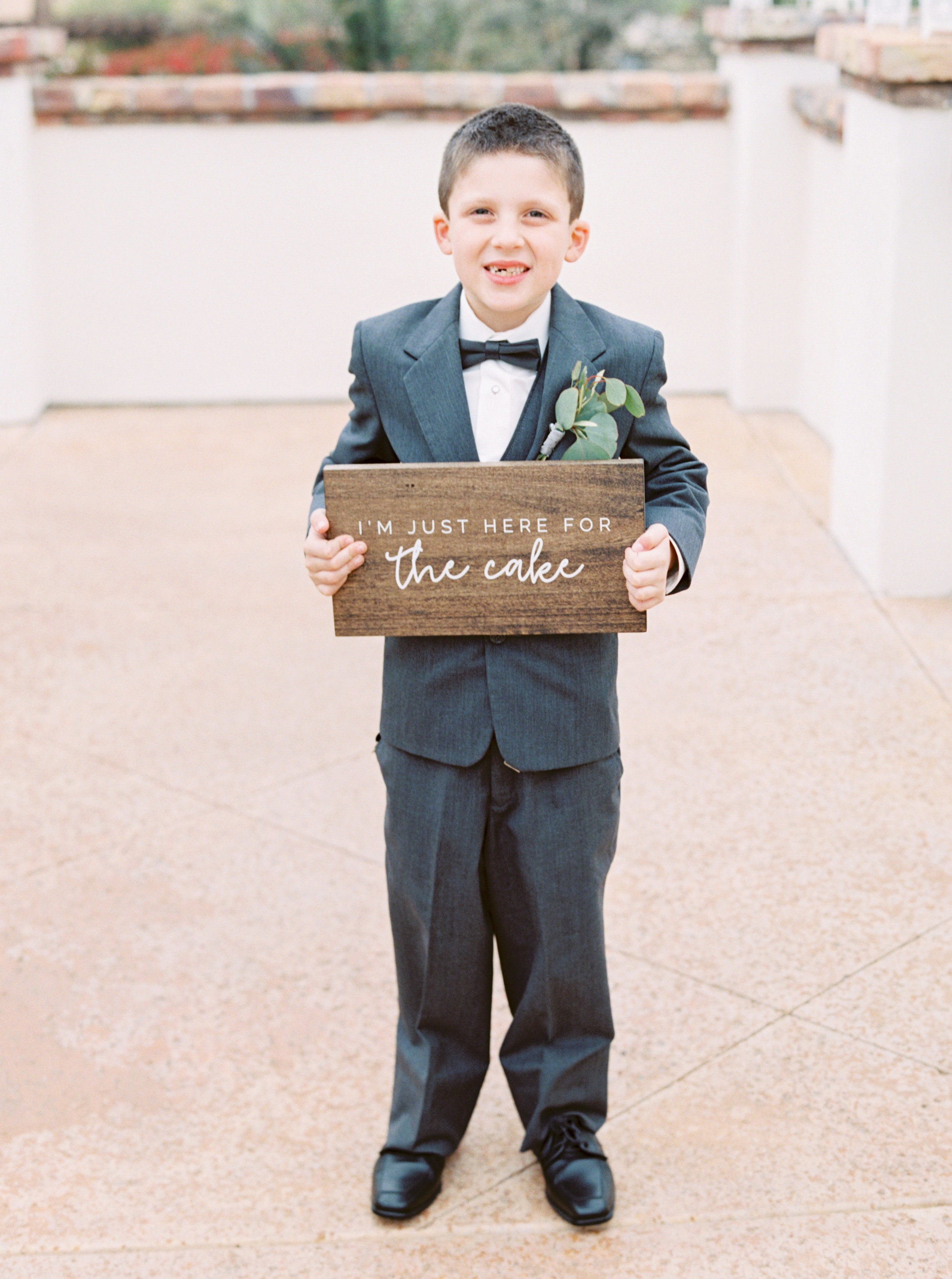 25 im just here for the cake wedding sign wooden custom sign ring bearer wood sign custom grey suit wedding party Life Design Events photos by Melissa Jill Photography.jpg