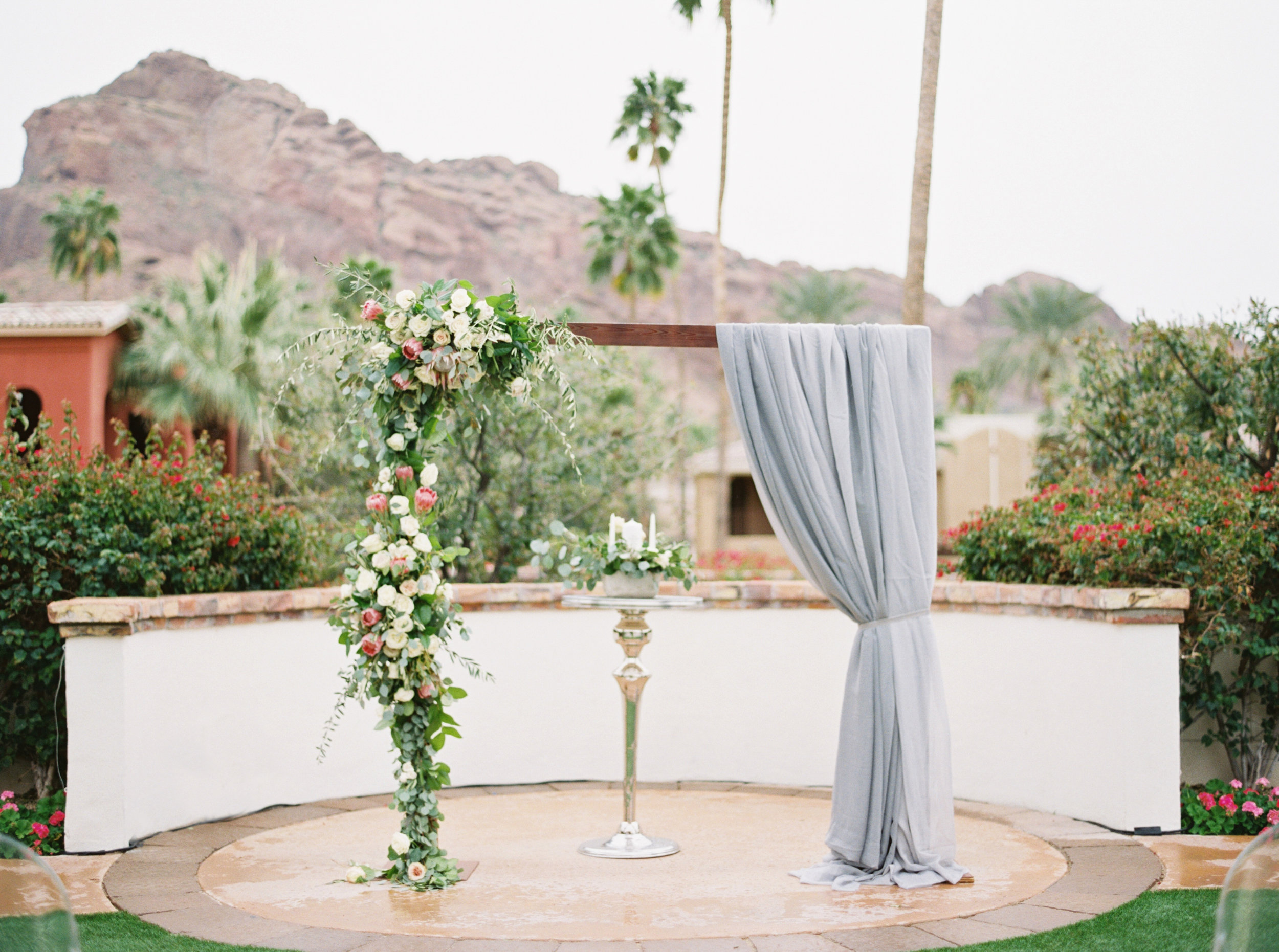 28 wedding arch ceremony arch fabric draped arch floral arch floral swag unity candle mountain view outdoor wedding ceremony Life Design Events photos by Melissa Jill Photography.jpg