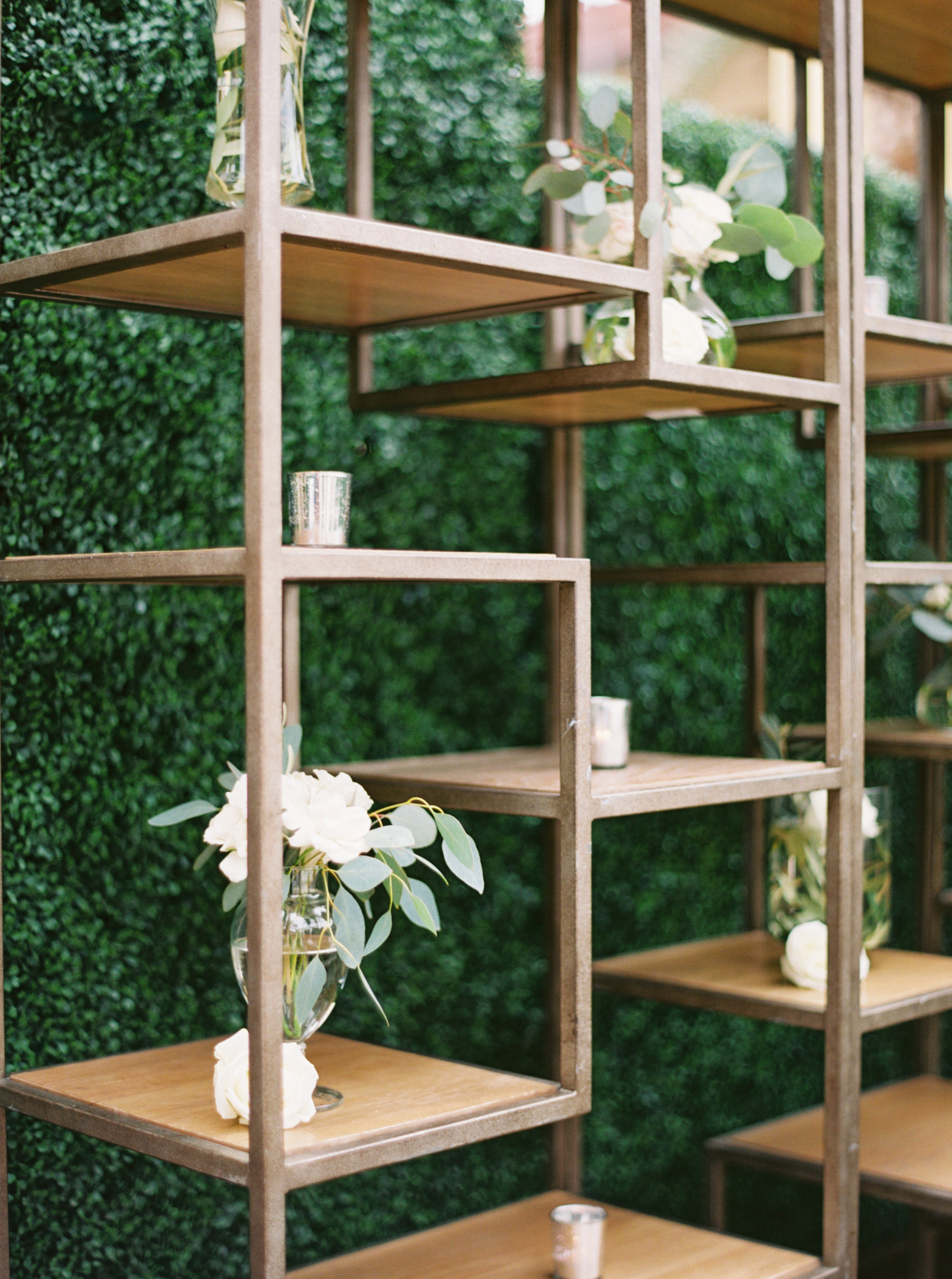 38 bar shelves simple wedding centerpiece white floral centerpiece Life Design Events photos by Melissa Jill Photography.jpg