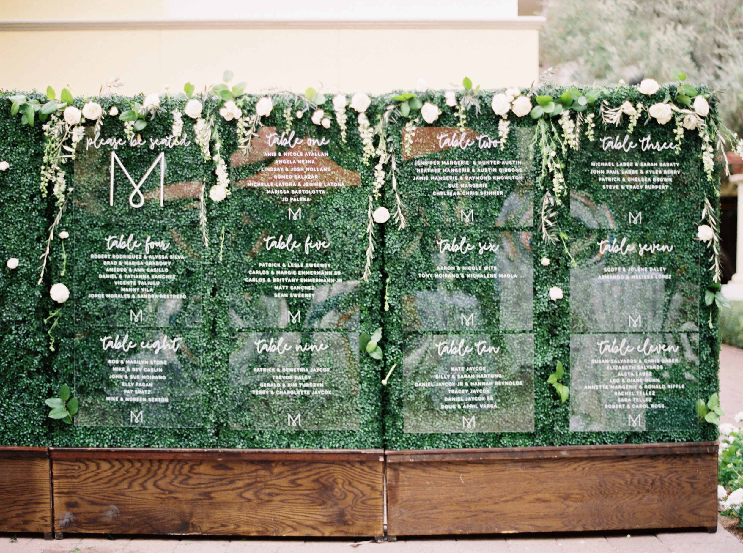 39 escort card display acrylic escort card assigned reception seating escort wall unique escort card display engraved acrylic wedding monogram Life Design Events photos by Melissa Jill Photography.jpg