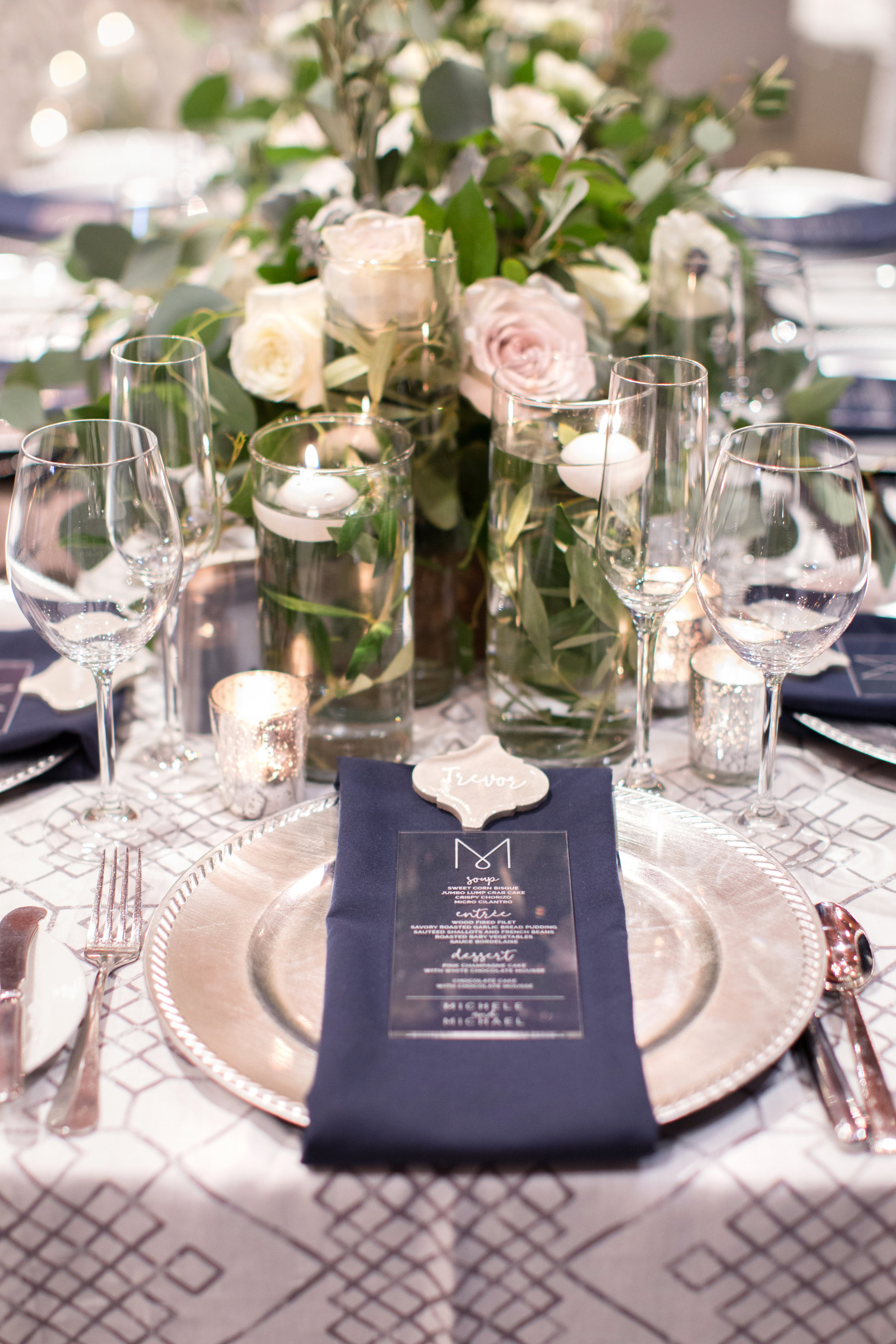 47 wedding reception dinner place setting acrylic engraved dinner menu white flower centerpiece tile place card Life Design Events photos by Melissa Jill Photography.jpg