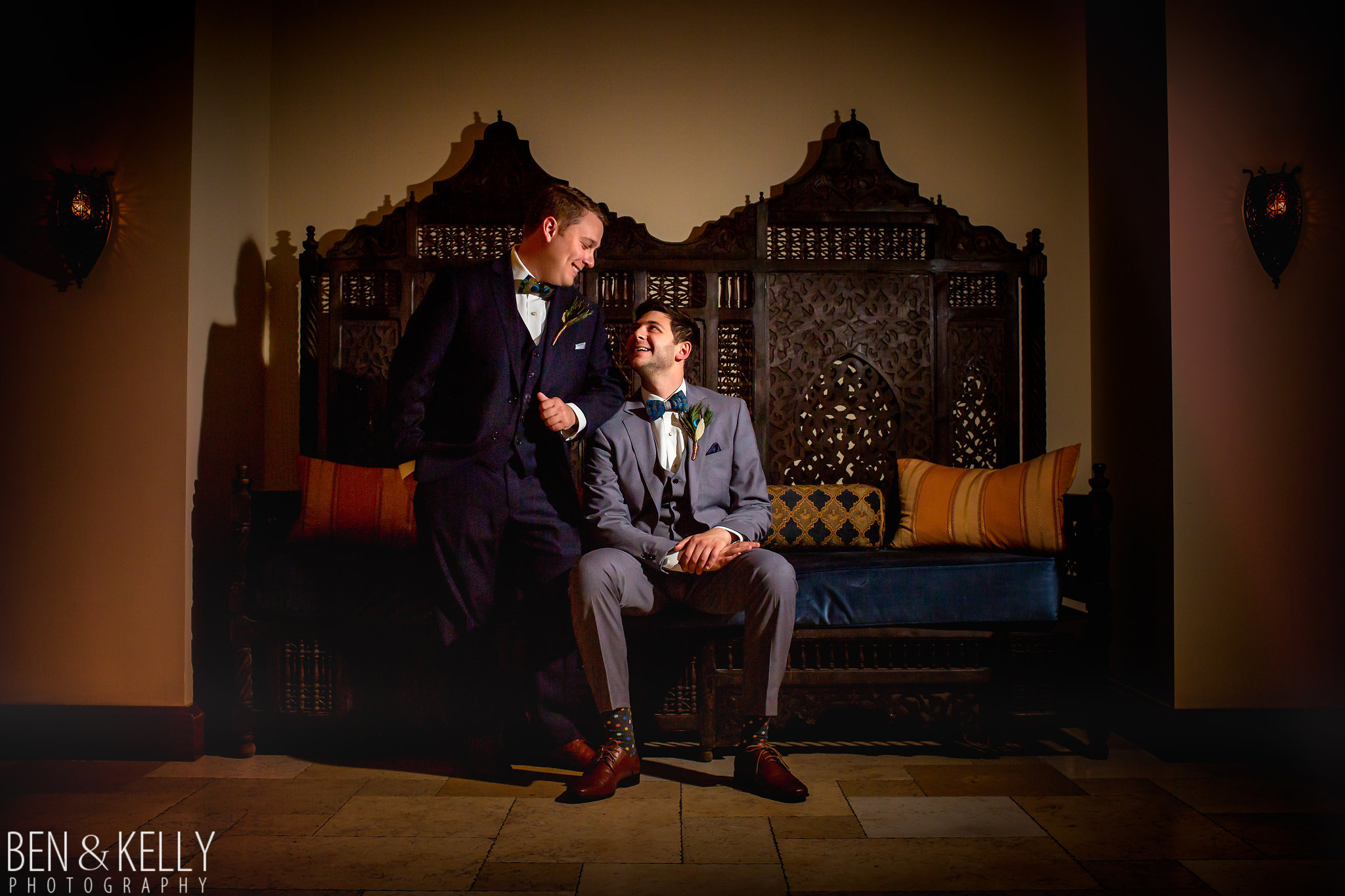 3 grooms first look groom portraits old spanish style portrait wedding portrait couple photos Life Design Events photo by Ben and Kelly Photography.jpg