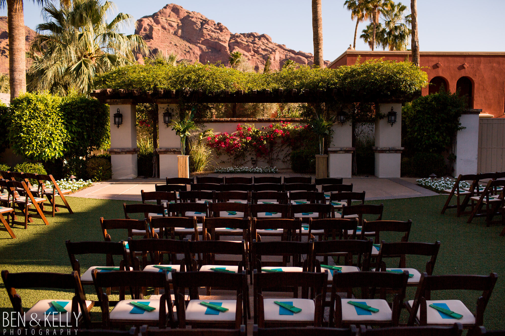 4 ceremony chairs ceremony programs outdoor wedding omni scottsdale montelucia wedding Life Design Events photo by Ben and Kelly Photography.jpg