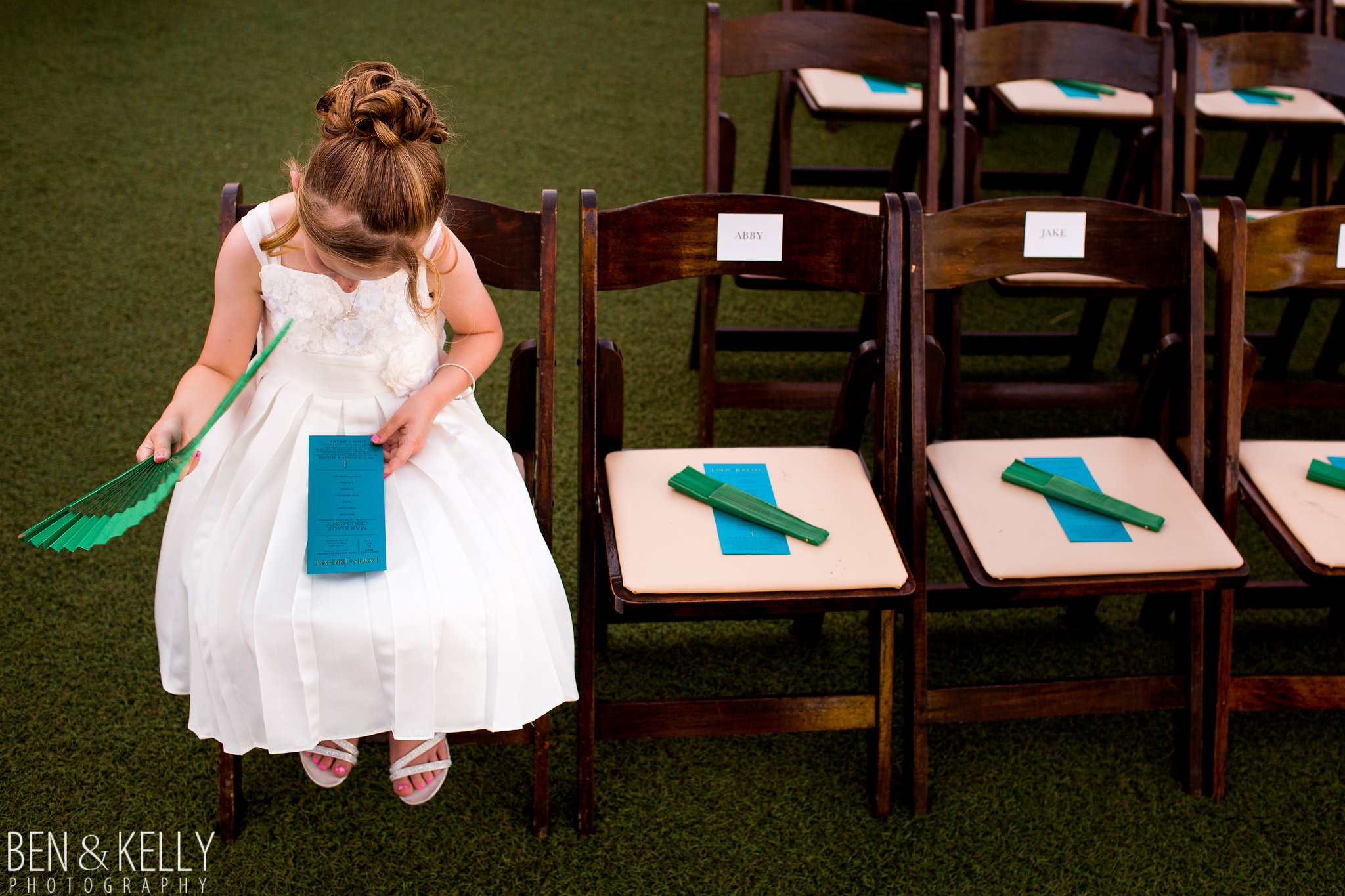 5 flower girl ceremony programs fans for guests outdoor wedding keep wedding guests cool flower girl dress Life Design Events photo by Ben and Kelly Photography.jpg