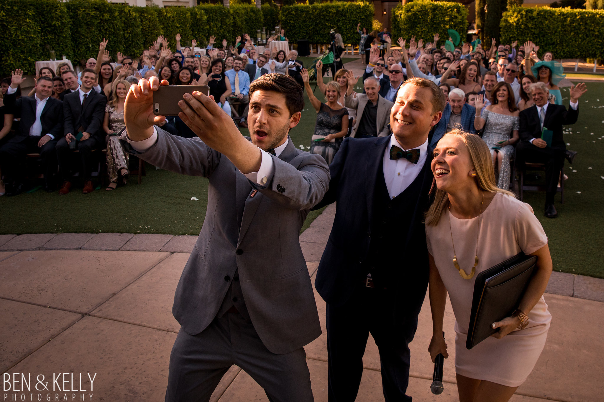 17 wedding selfie wedding couple ceremony selfie wedding selfie with guests Life Design Events photo by Ben and Kelly Photography.jpg