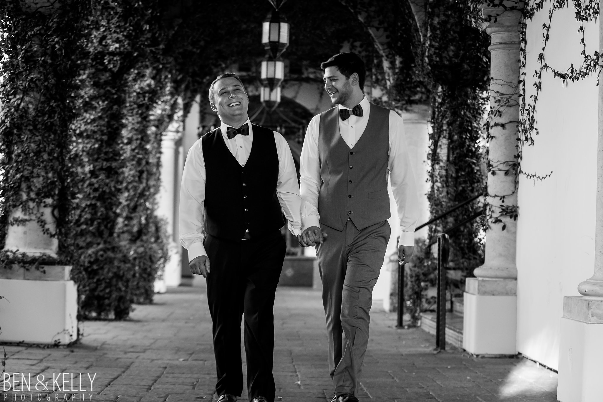 19 grooms couple portrait photos before ceremony wedding portraits ivy covered walkway omni scottsdale montelucia Life Design Events photo by Ben and Kelly Photography.jpg