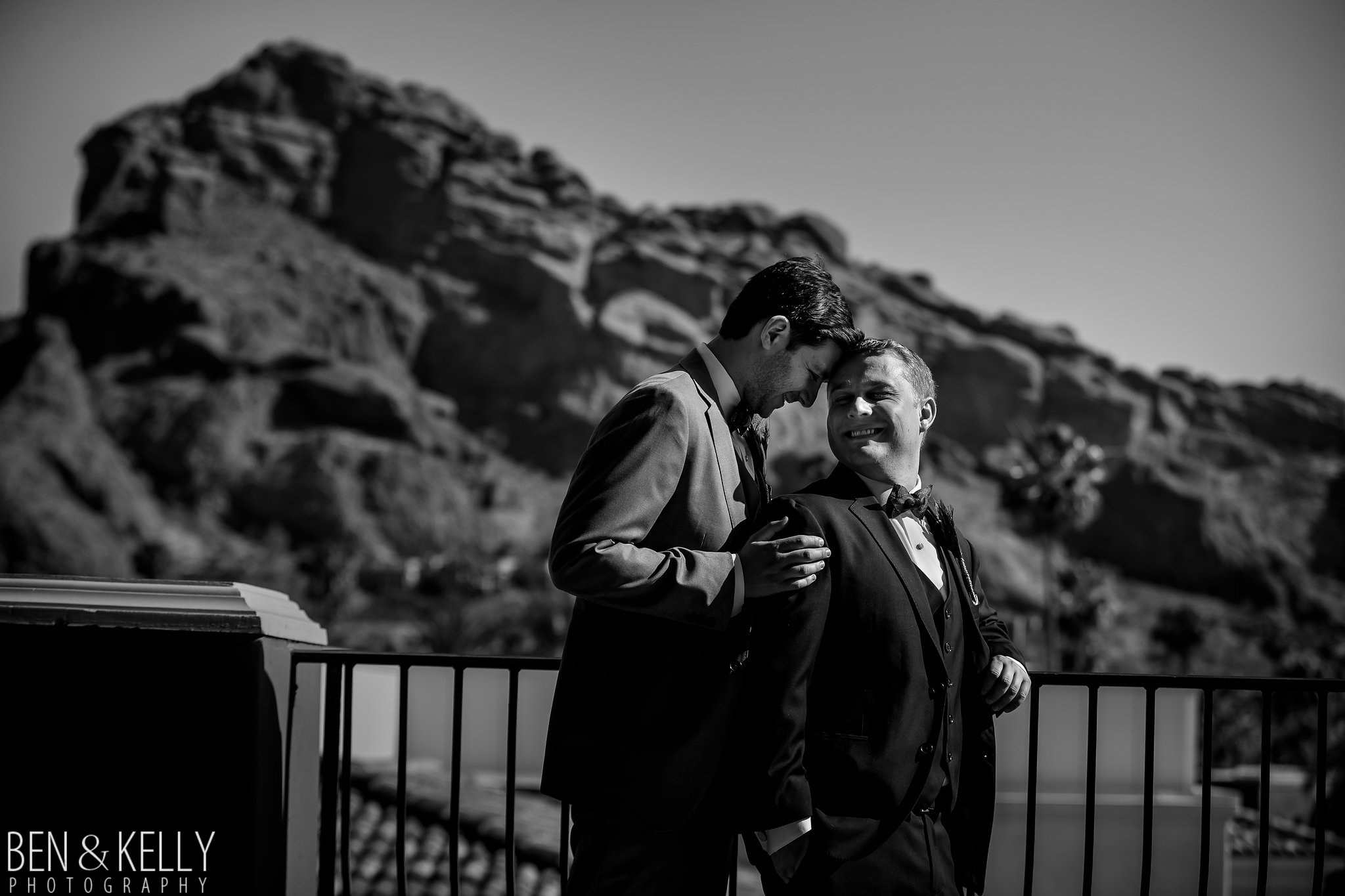 21 grooms portraits wedding portraits black and white portraits camelback mountain wedding photo omni scottsdale montelucia wedding Life Design Events photo by Ben and Kelly Photography.jpg