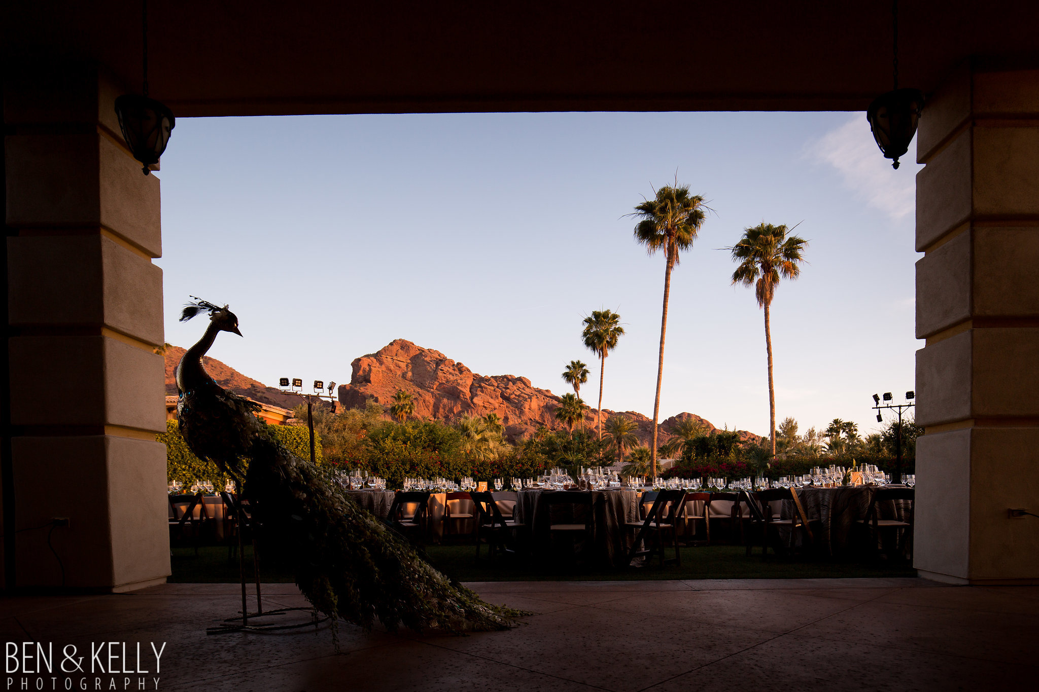 26 wedding reception outdoor wedding reception with a view peacock guest welcome omni scottsdale montelucia wedding sunset wedding reception Life Design Events photo by Ben and Kelly Photography.jpg
