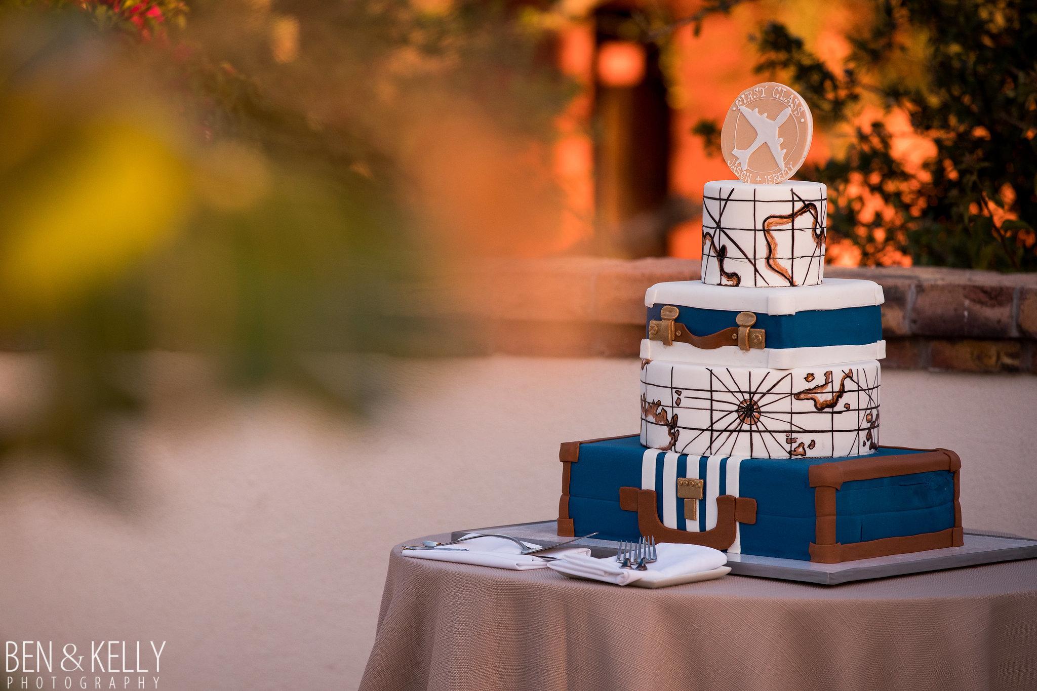35 wedding cake custom wedding cake travel theme wedding cake suitcase wedding cake map wedding cake personalized wedding cake Life Design Events photo by Ben and Kelly Photography.jpg