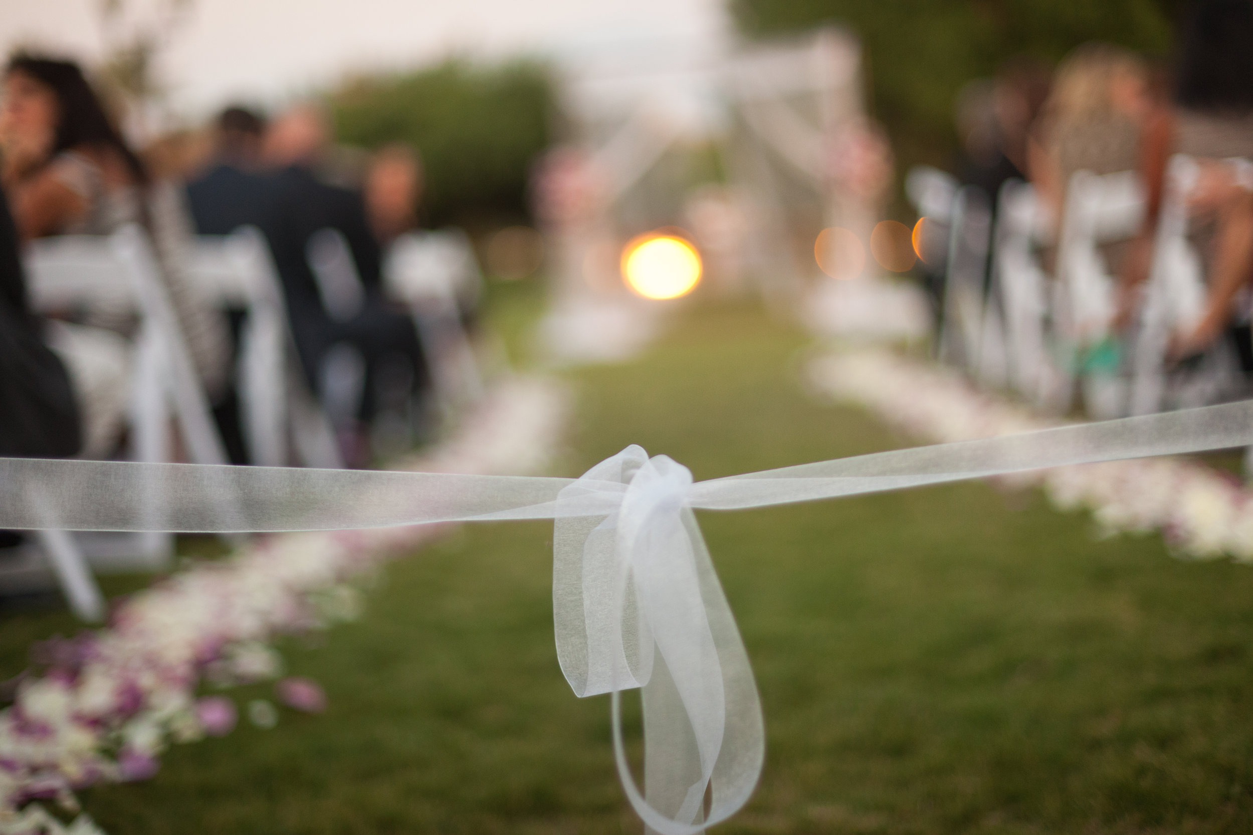 11 purple and white flowers down the aisle ribbon across the aisle simple aisle decor Sergio Photography Life Design Events.JPG