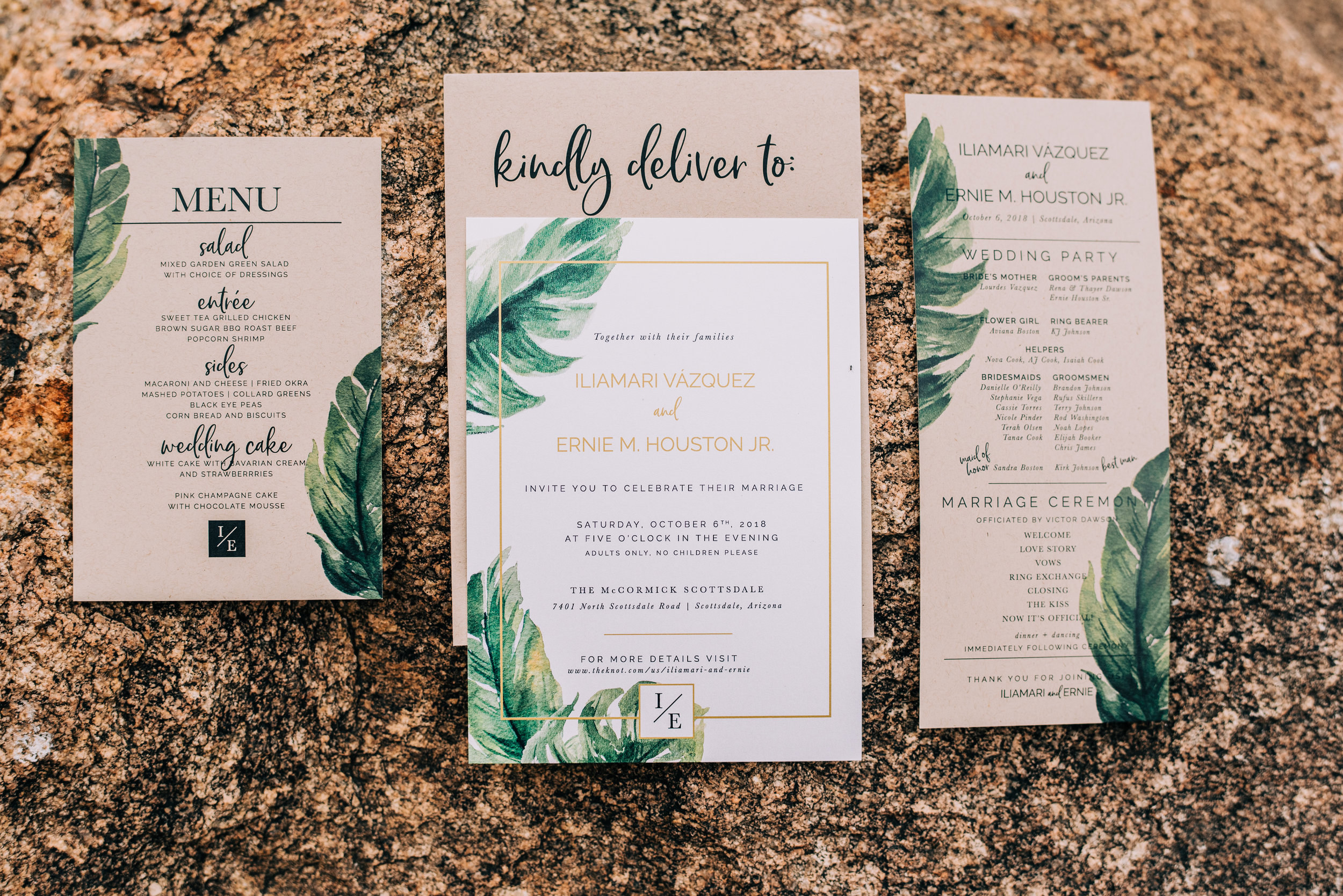 1 wedding invitation wedding ceremony program reception dinner menu tropical wedding invitation kraft paper invitation Life Design Events photos by Josh Snyder Photography.jpg