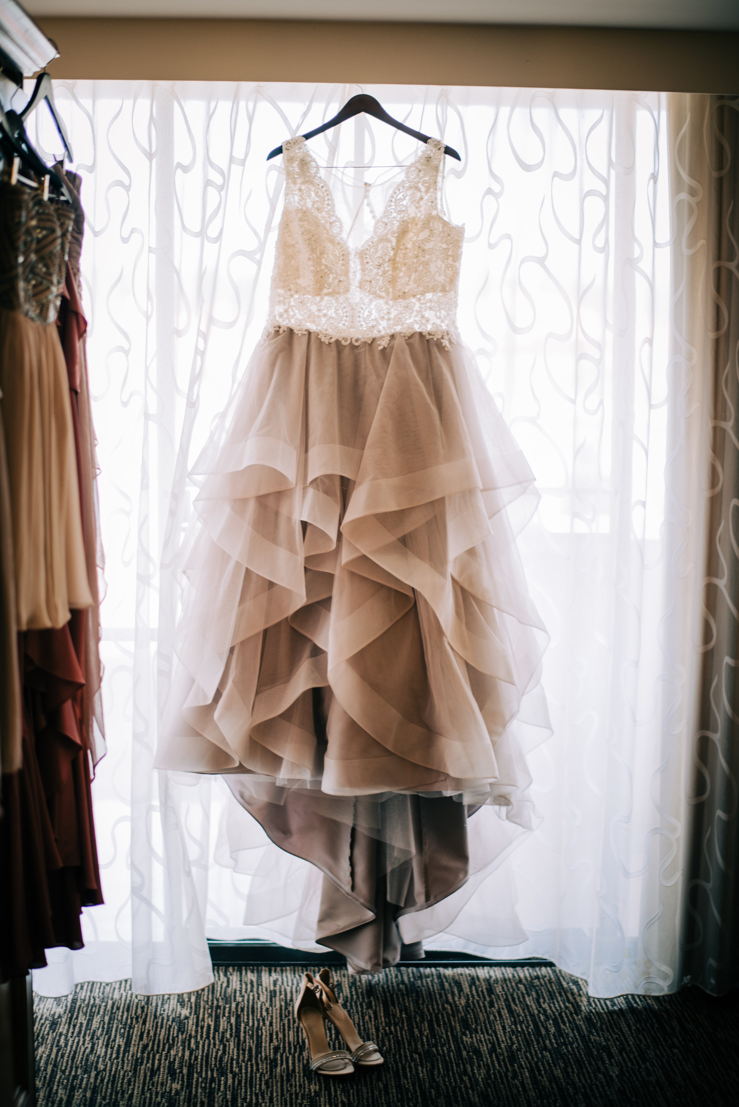 2 wedding dress blush wedding dress taupe wedding dress non white wedding dress ruffle tulle wedding dress lace wedding dress Life Design Events photos by Josh Snyder Photography.jpg