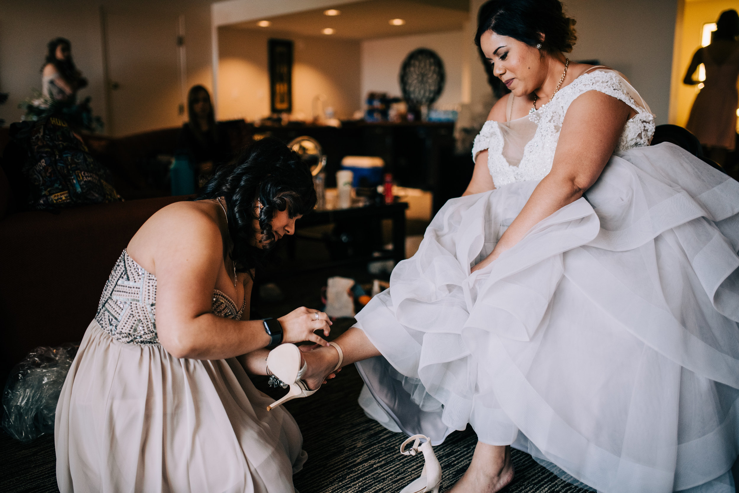 6 maid of honor help bride blush wedding dress bride shoes wedding shoes bride get ready Life Design Events photos by Josh Snyder Photography.jpg