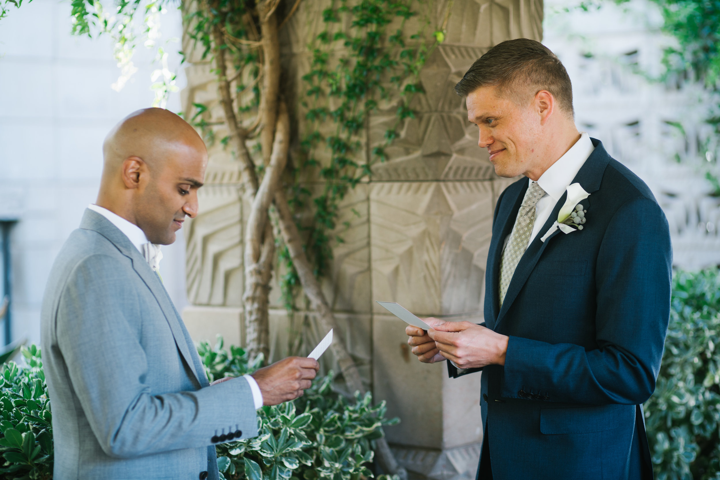6 couple exchange notes two grooms exchange wedding letters first look photos before ceremony Life Design Events photos by Keith and Melissa Photography.jpg