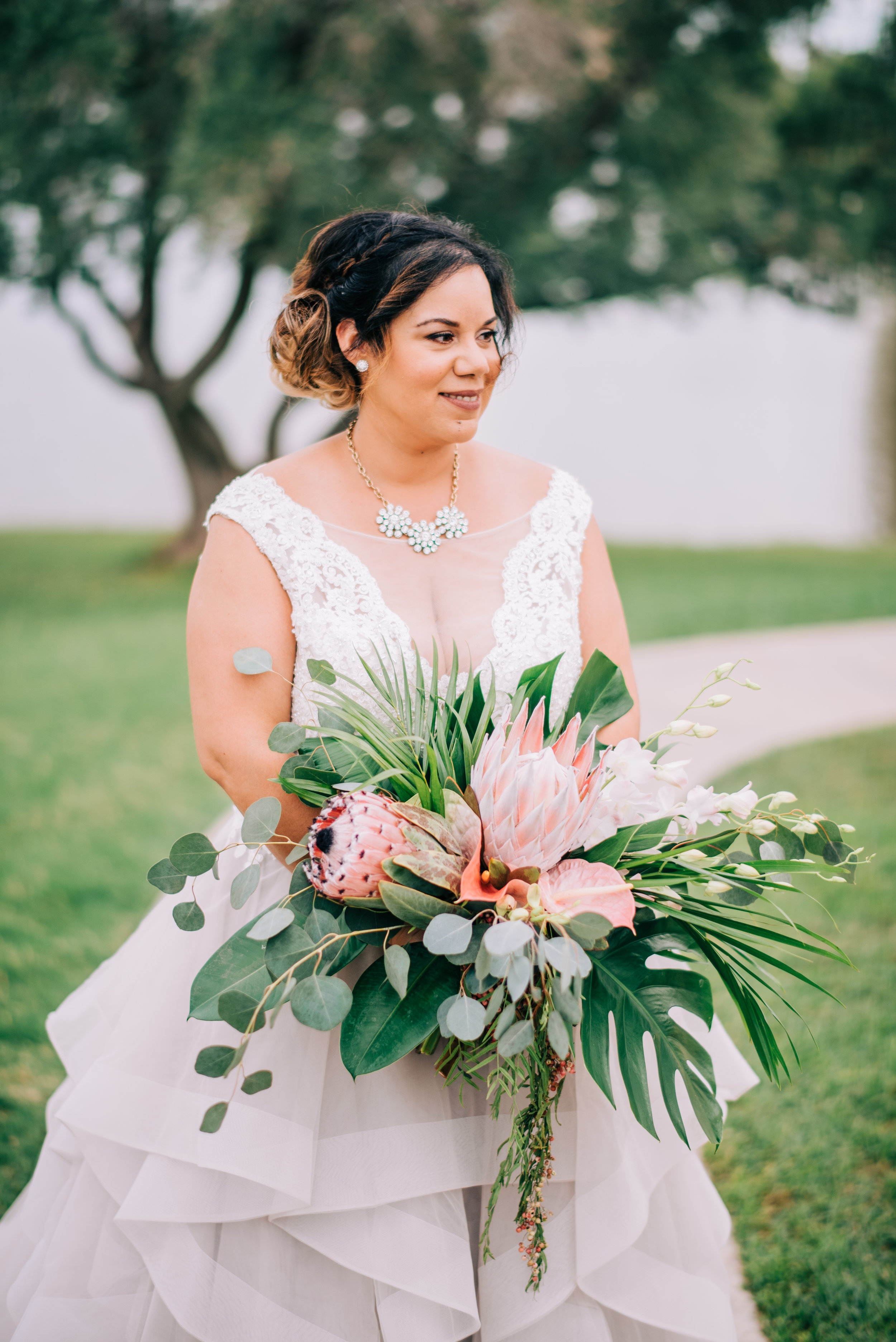 15 bride portrait bride bouquet tropical bouquet king protea orchid laceleaf pink bouquet Life Design Events photos by Josh Snyder Photography .jpg