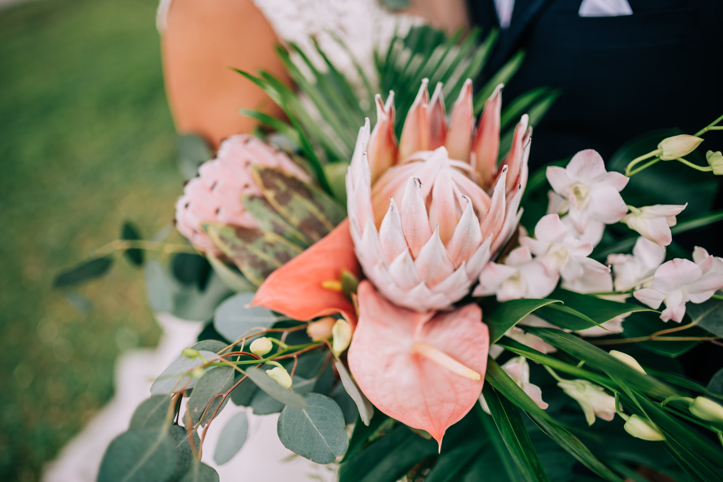 16 bride bouquet tropical flower bouquet king protea laceleaf orchid bouquet shades of pink bouquet grand bouquet Life Design Events photos by Josh Snyder Photography.jpg