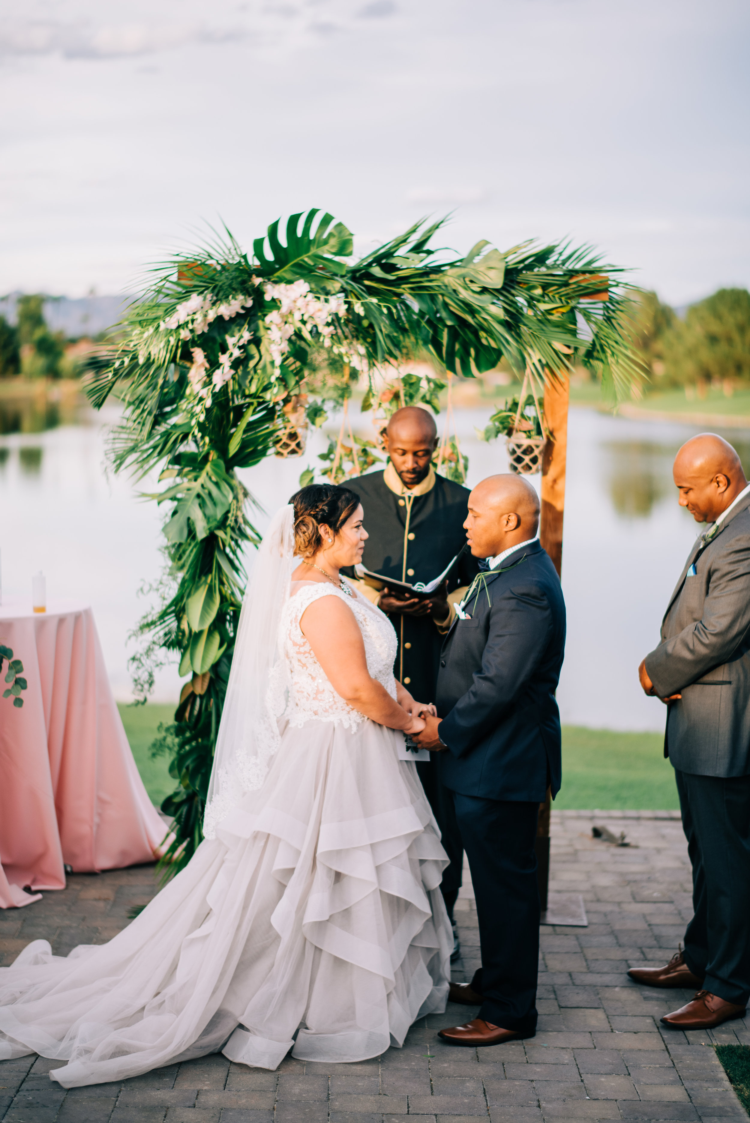 21 wedding vows bride groom exchange vows write own vows wedding ceremony lake wedding outdoor wedding tropical theme wedding Life Design Events photos by Josh Snyder Photography .jpg