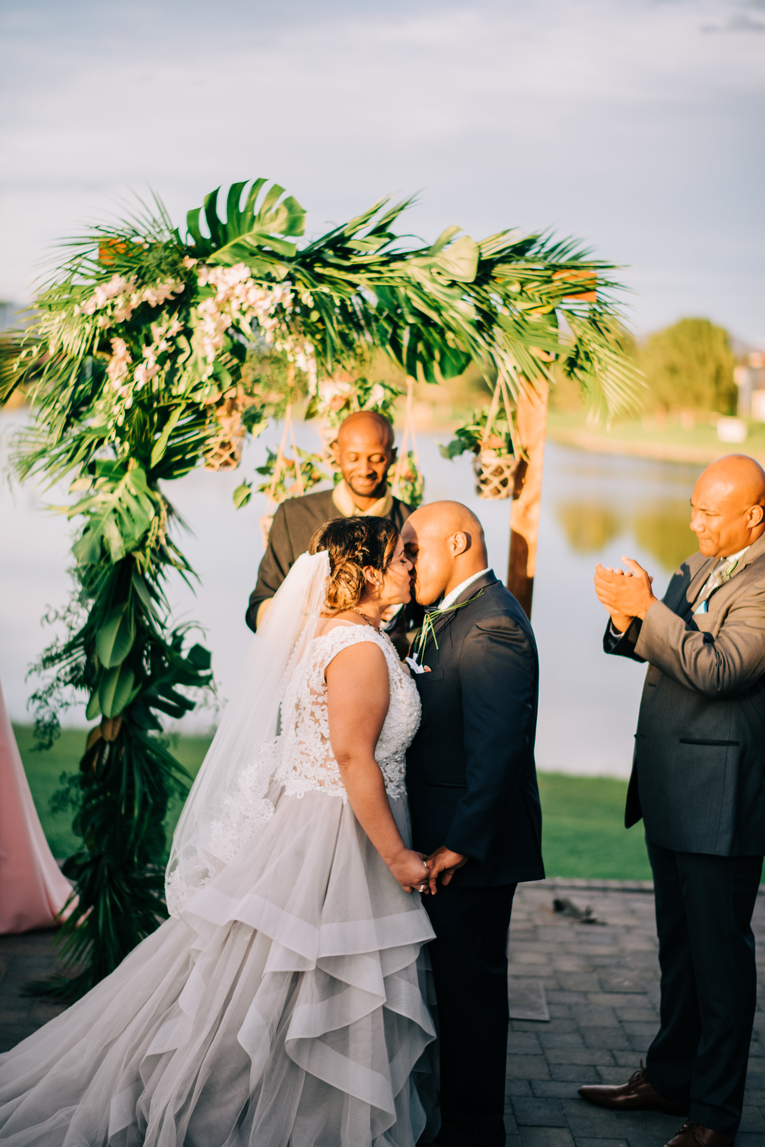 22 bride groom kiss seal the deal kiss the bride wedding ceremony Life Design Events photos by Josh Snyder Photography.jpg