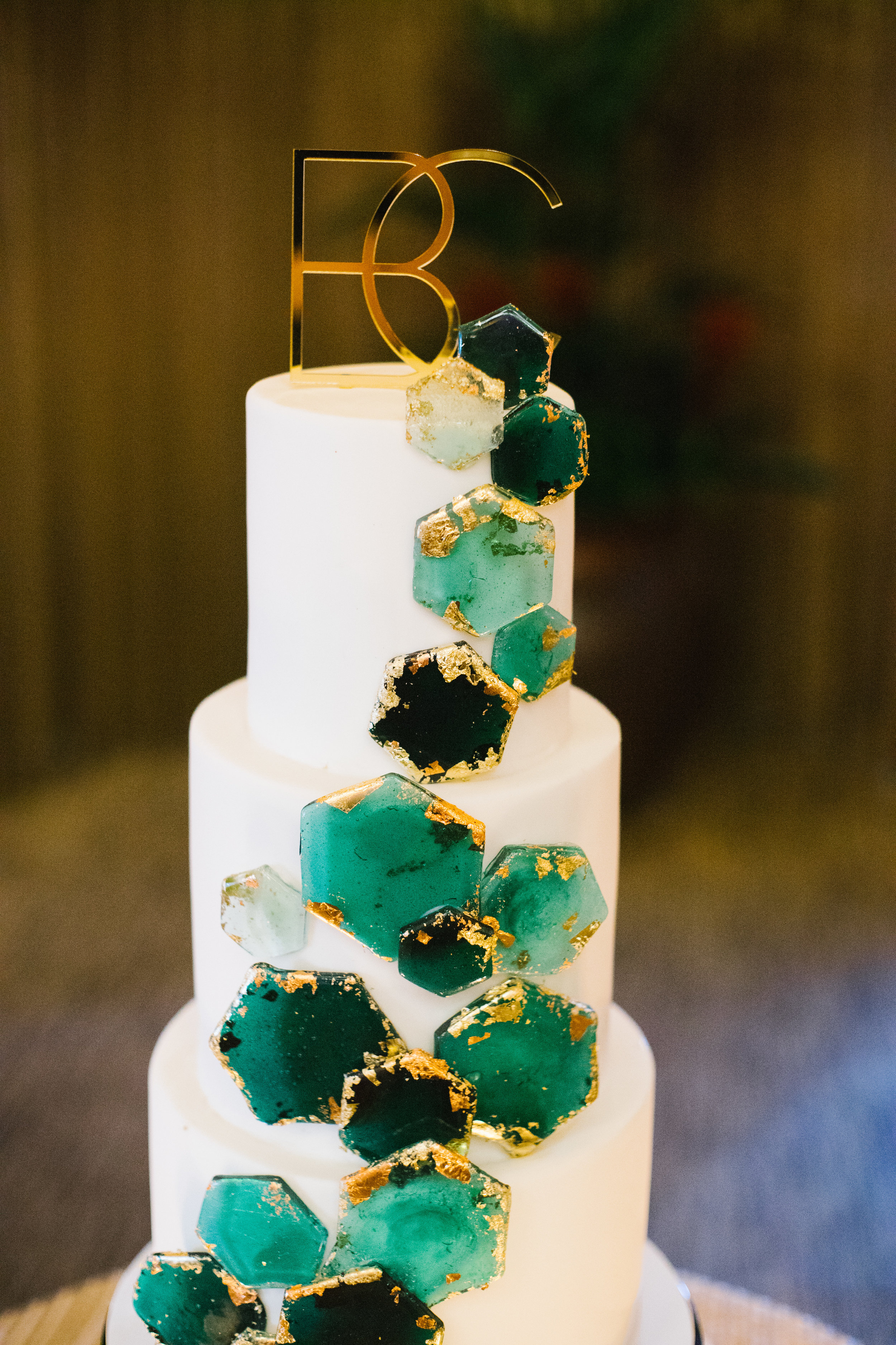 15 wedding cake three tier cake monogram cake green sugar geometric shapes green gold sugar art green wedding cake geometric wedding cake simple wedding cake Life Design Events photos by Keith and Melissa Photography.jpg
