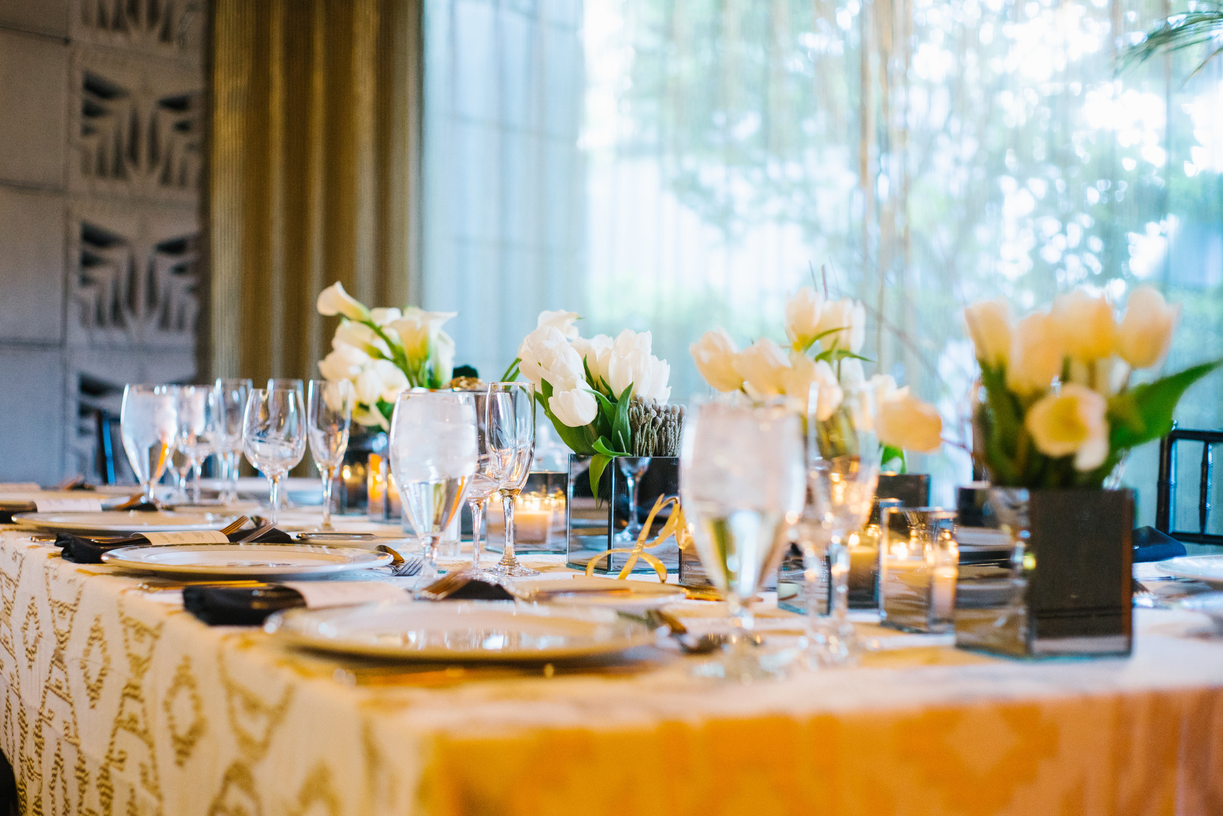 17 reception dinner simple wedding table gold linen white tulips white centerpiece smoke vase dinner reception place card arizona biltmore block Life Design Events photos by Keith and Melissa Photography.jpg