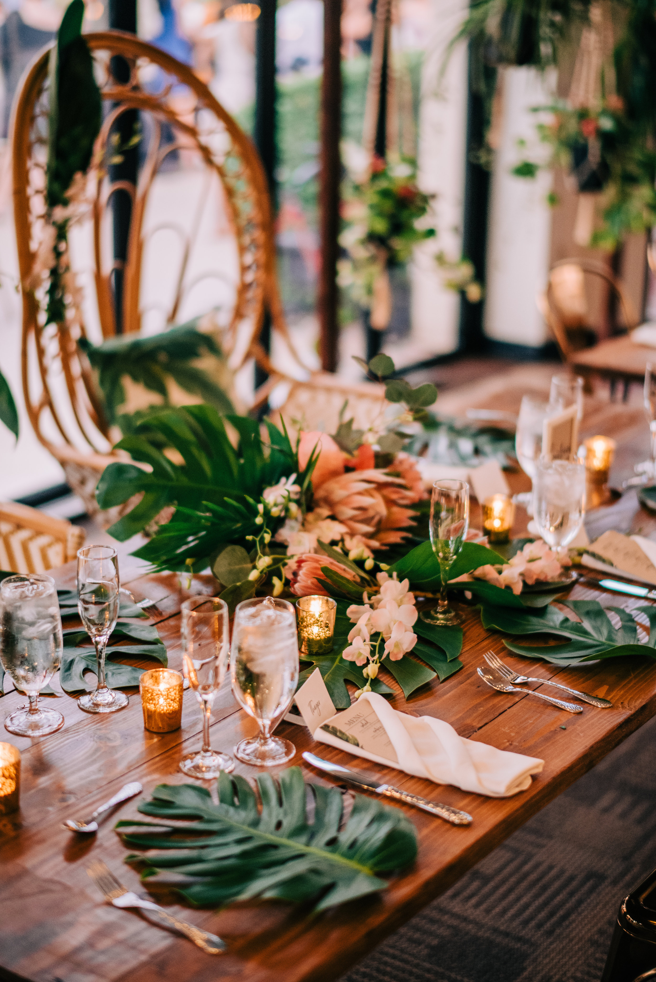 27 bride bouquet as head table centerpiece reception place setting bride special chair tropical theme wedding Life Design Events photos by Josh Snyder Photography.jpg