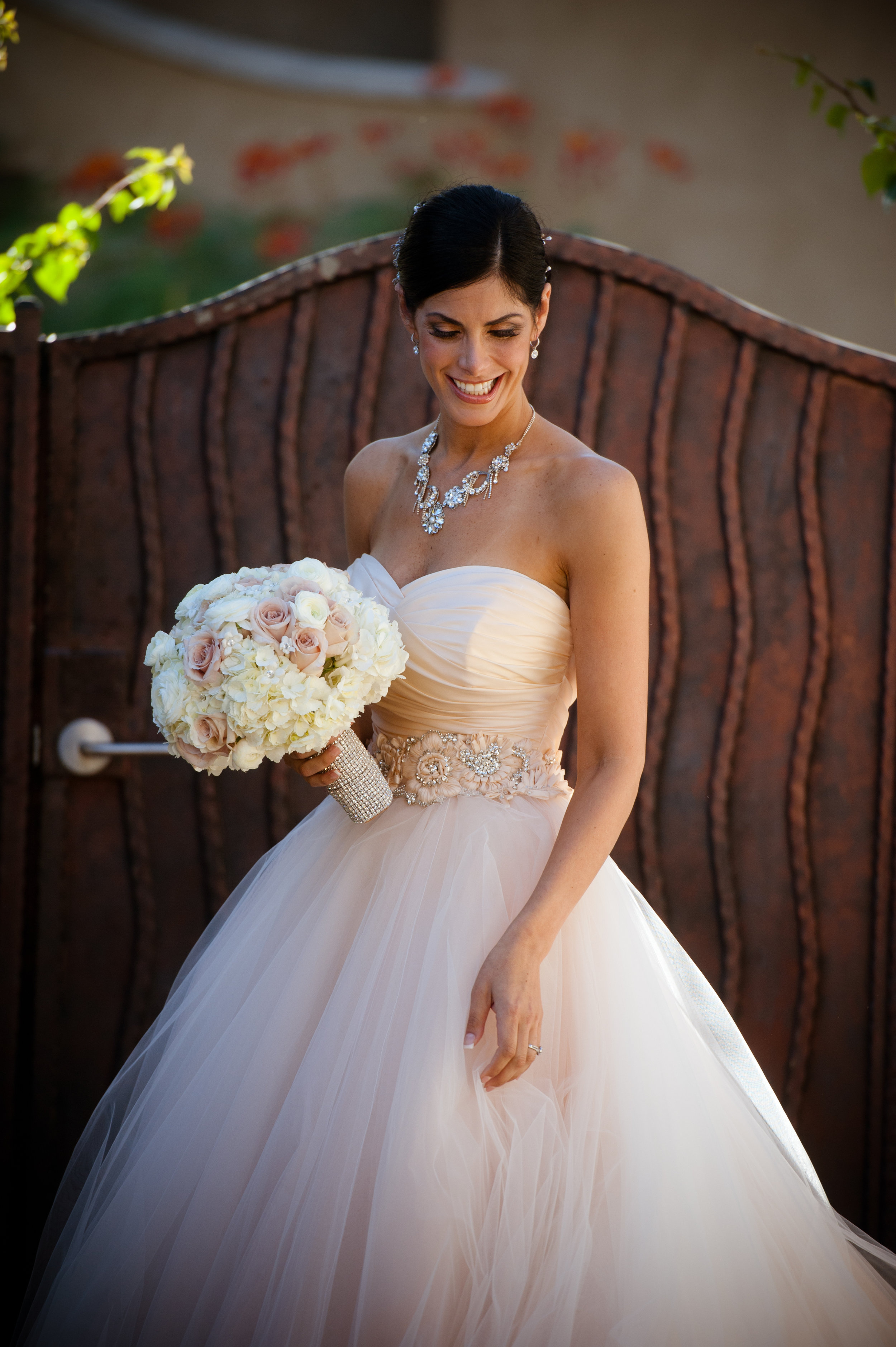 5 bride getting ready for first look bridal photos bride poses princess bride dress all white bouquet Christine Johnson Photography Life Design Events .jpg
