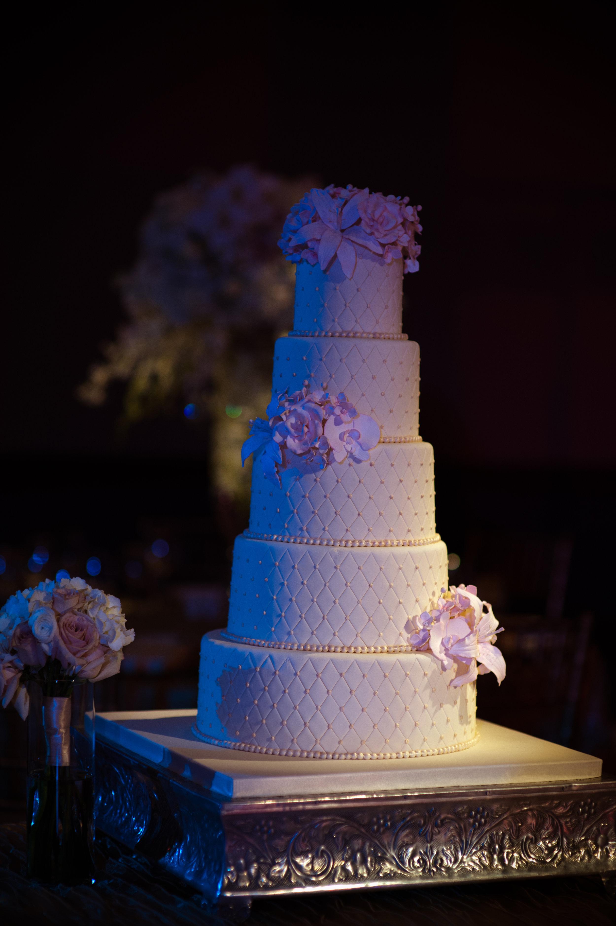24 wedding cake 5 tier wedding cake all white wedding cake detailed wedding cake simple wedding cake flowers on wedding cake Christine Johnson Photography Life Design Events.jpg
