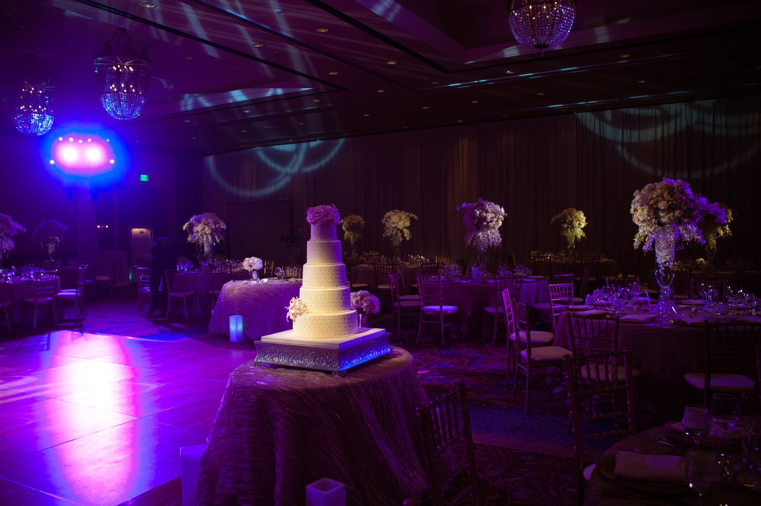 28  reception hall last name initial on the dance floor sweetheart table in the center Christine Johnson Photography Life Design Events.jpg