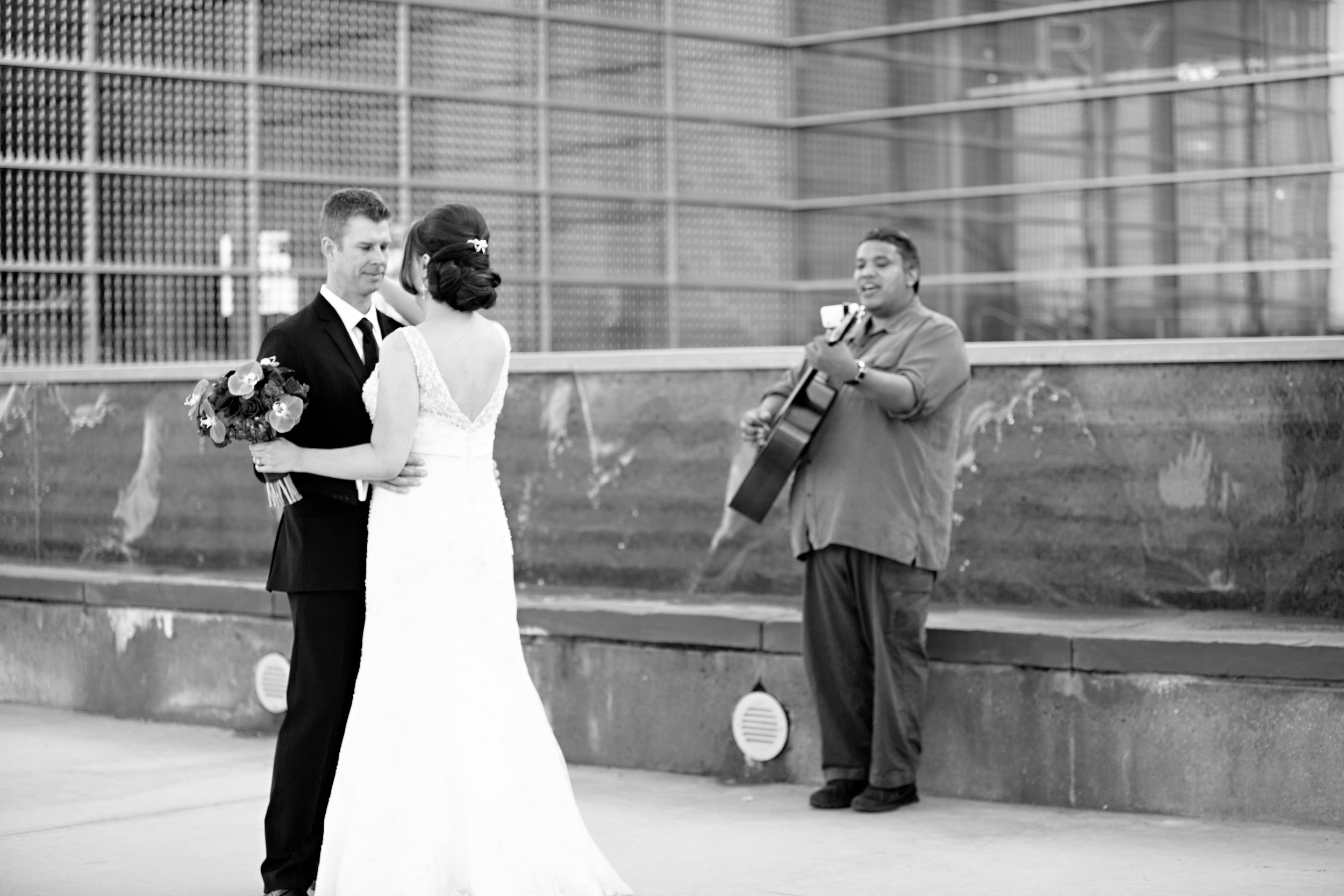 11 first look bride and groom first look first look with a guitar player first look poses O Grace Photography Life Design Events.jpg