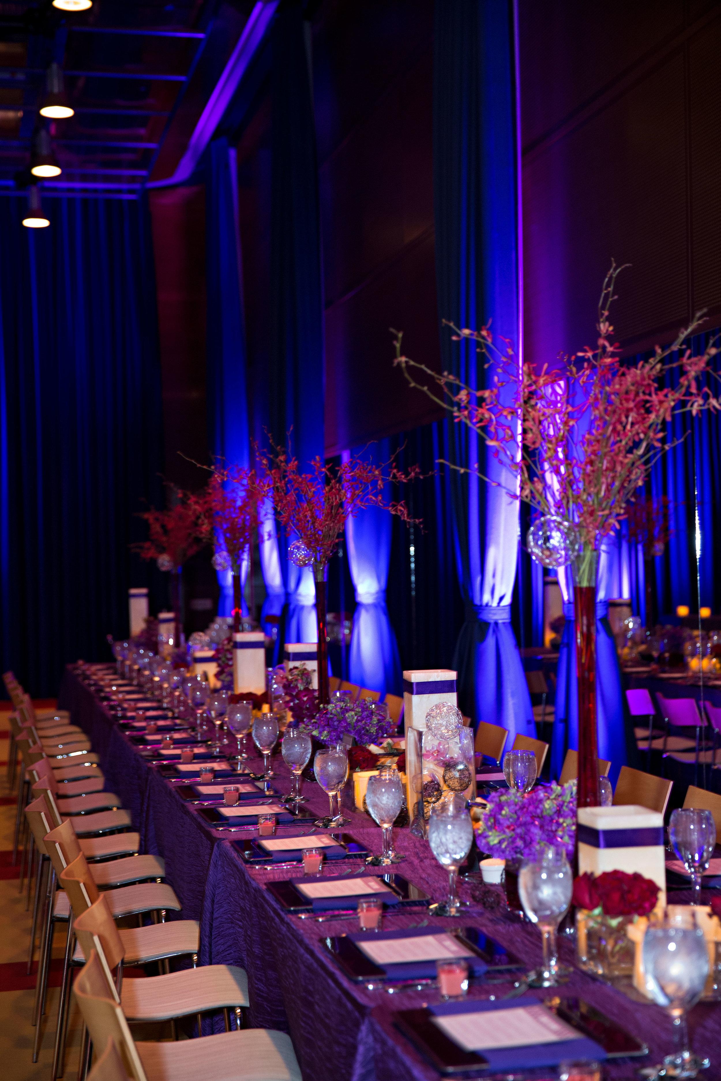 19 unique wedding reception large wedding reception hall purple reception all purple wedding decor O Grace Photography Life Design Events.jpg