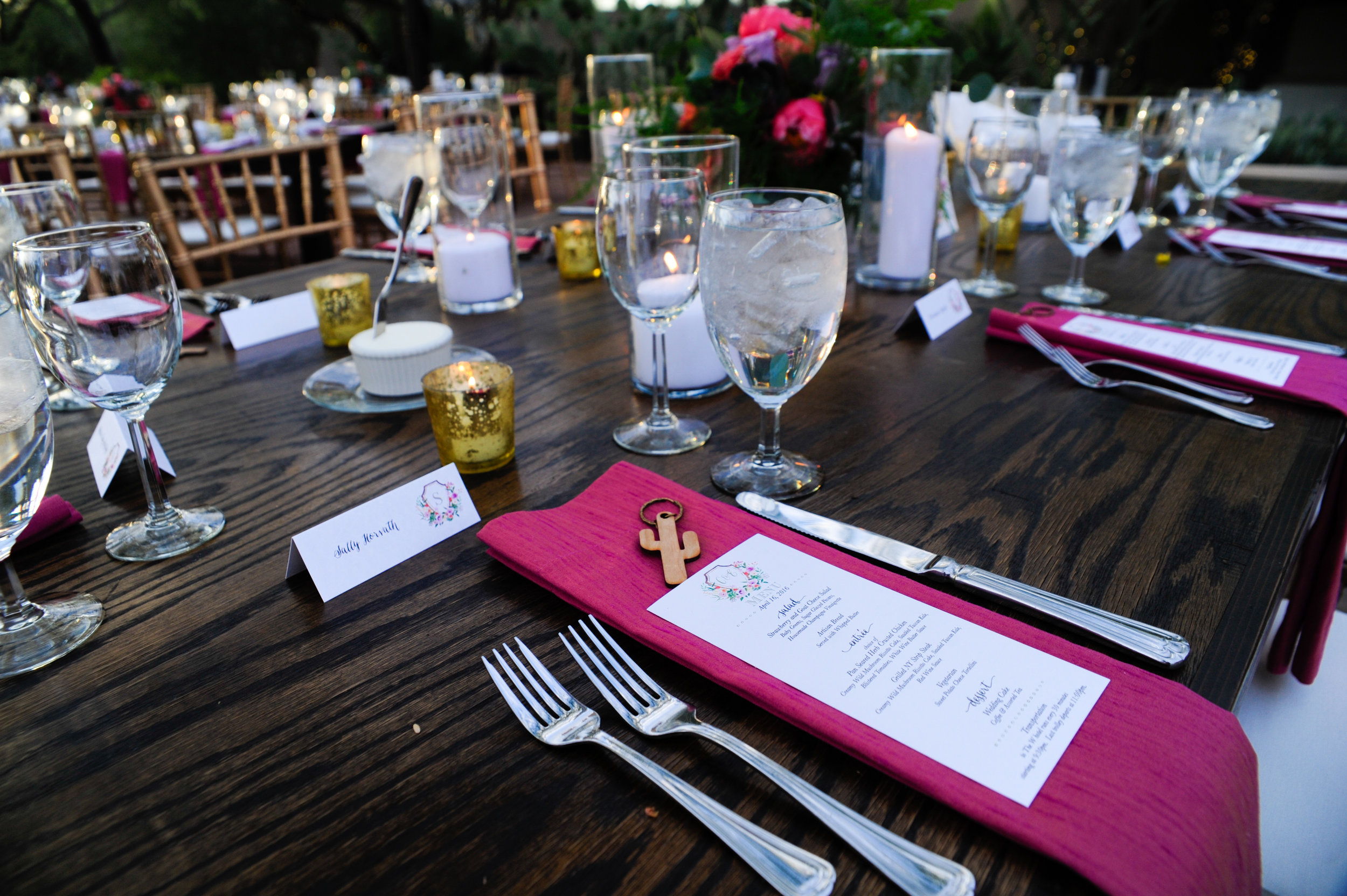 27 outdoor place settings spring place settings menu on top of napkin simple reception tables Mod Wed Photography Life Design Events.jpg