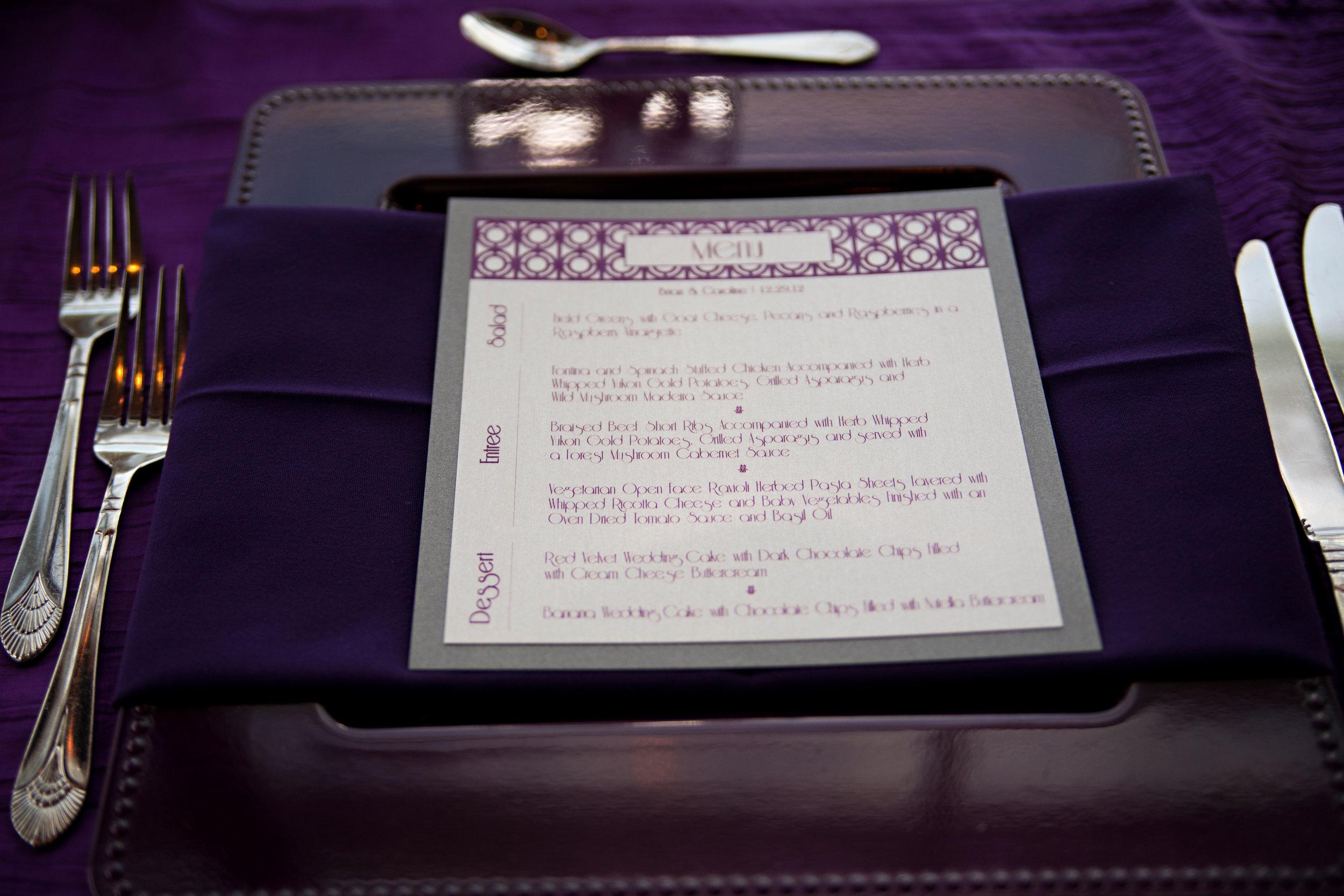 28 purple wedding napkins purple wedding menu fancy wedding menu O Grace Photography Life Design Events.jpg