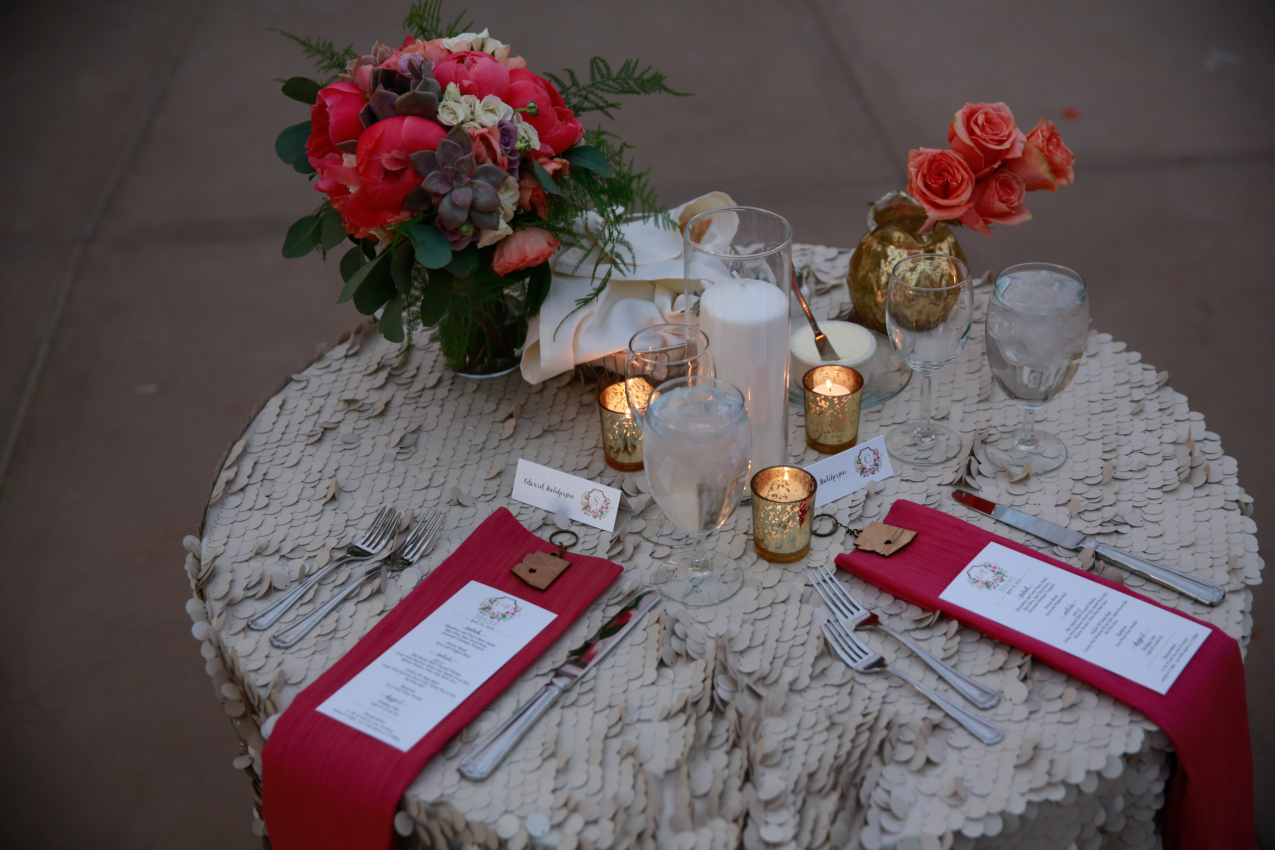 29 outdoor place settings spring place settings menu on top of napkin simple reception tables Mod Wed Photography Life Design Events.jpg