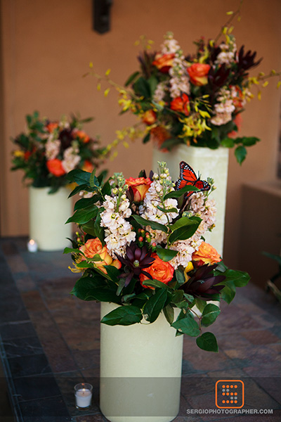 10 bride and groom first look bride surprising groom white vase centerpieces Sergio Photography Life Design Events.jpg.jpg