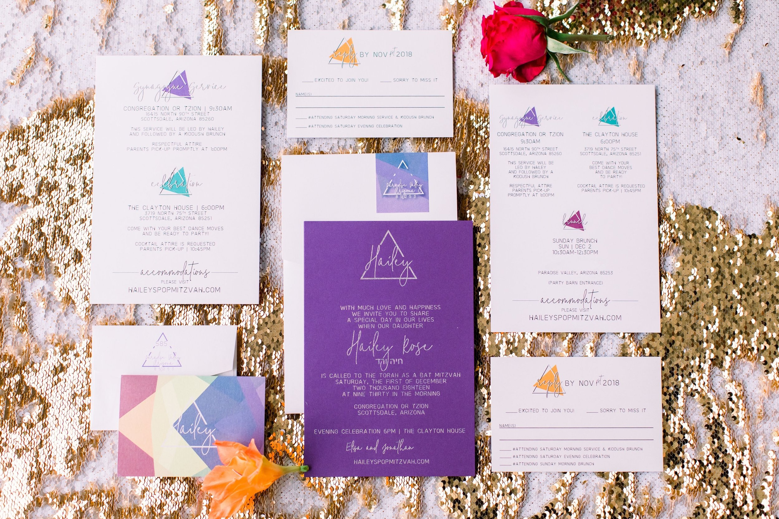 1 bat mitzvah invitation custom invitation suite rsvp card party invitation rainbow geometric invitation Life Design Events photos by Stephanie Heymann Photography.jpg