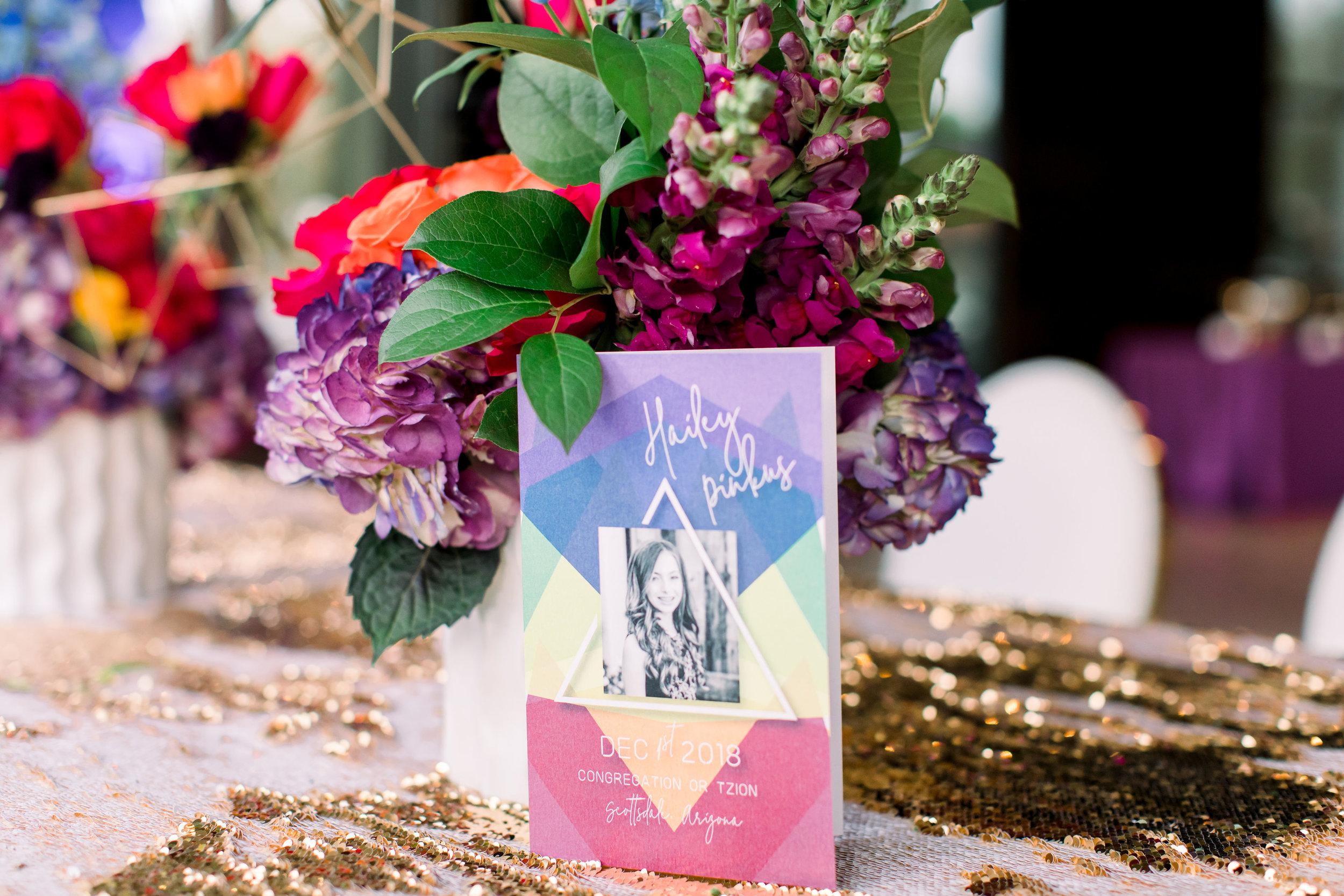 4 bat mitzvah ceremony program custom rainbow geometric program Life Design Events photos by Stephanie Heymann Photography.jpg