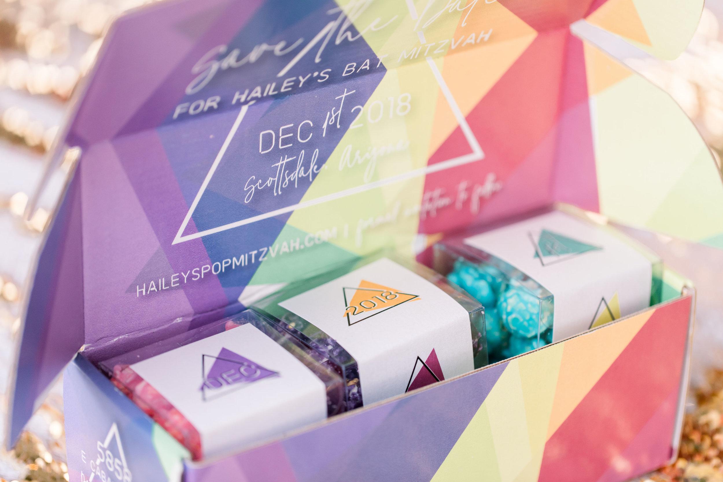 6 bat mitzvah save the date invitation custom mailing box flavored popcorn gift bat mitzvah guest surprise Life Design Events photos by Stephanie Heymann Photography.jpg