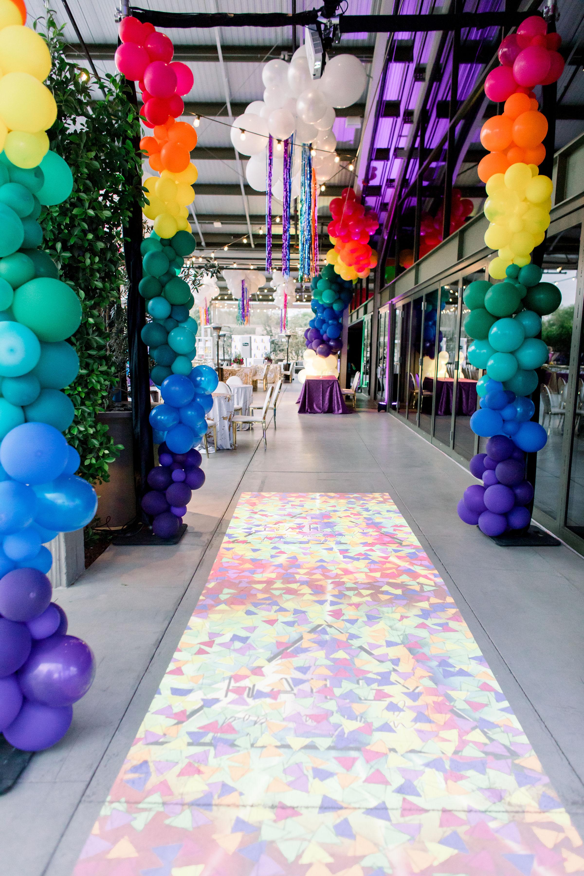 8 rainbow balloon garland balloon columns balloon clouds interactive light projection games rainbow bar mitzvah Life Design Events photos by Stephanie Heymann Photography.jpg